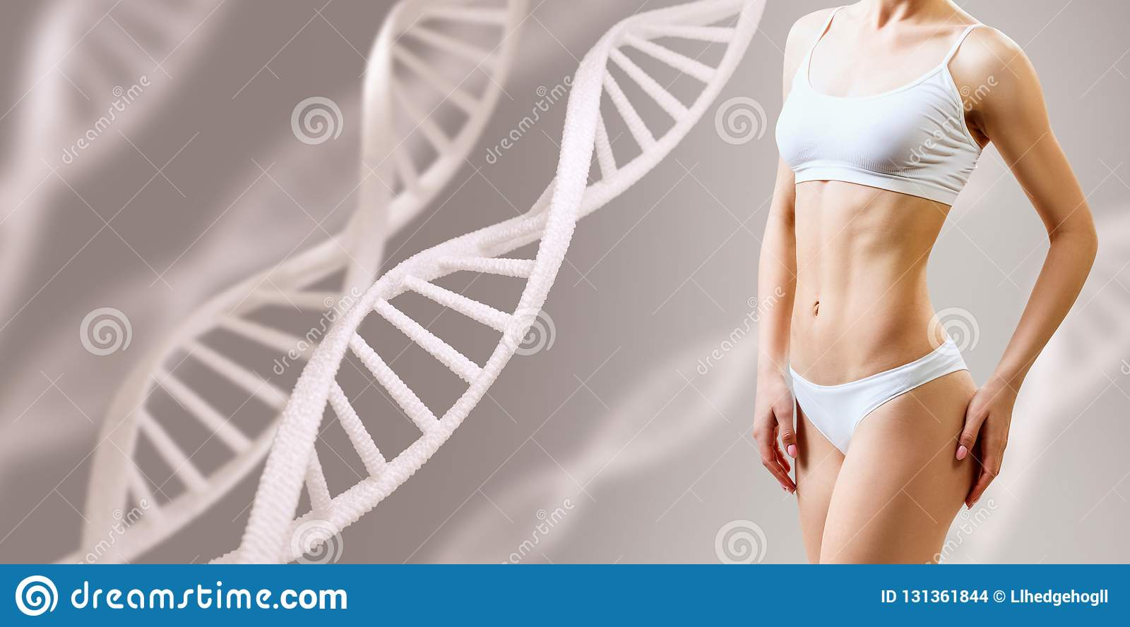 Perfect sporty female body near DNA stems. Good metabolism concept.