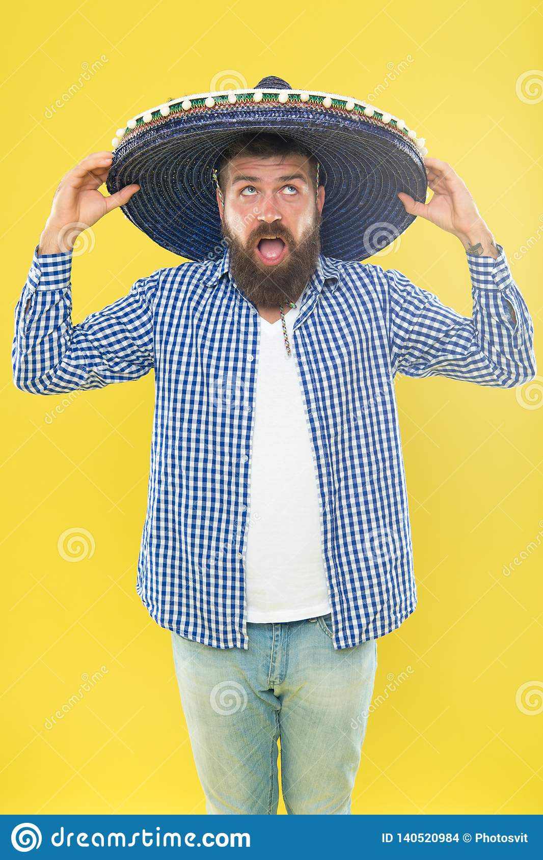 Perfect for sun protection. Traditional fashion accessory for theme costume party. Hipster in wide brim hat. Mexican man