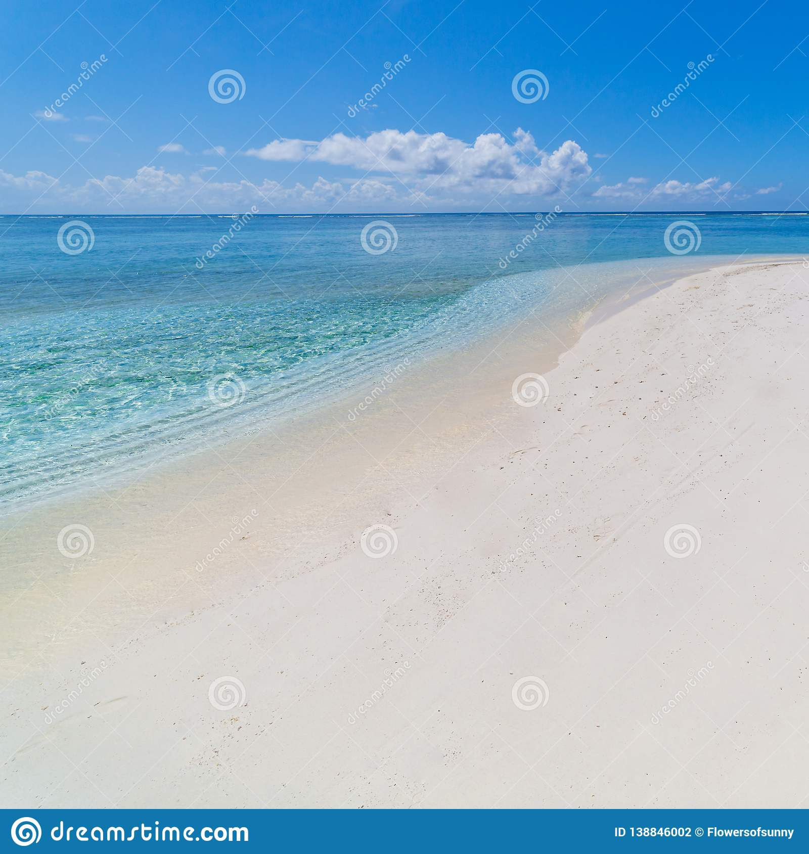 Tropical Beach And Peaceful Ocean: Peaceful Beach Scene, Calm Sea With Blue Sky And White