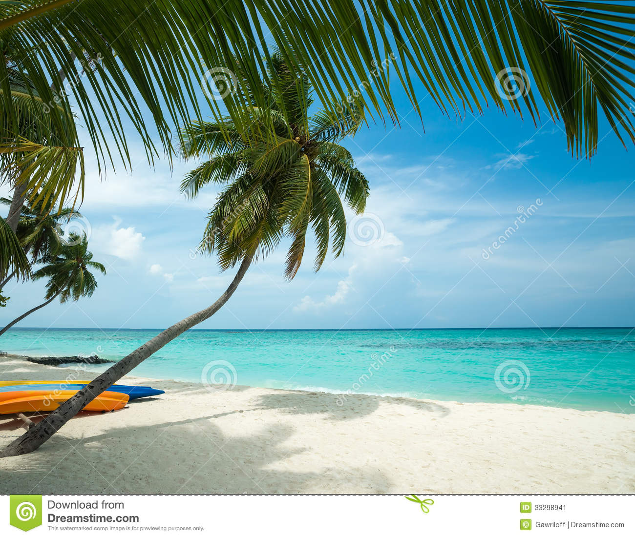 Beach Island: Perfect Tropical Island Paradise Beach Stock Image