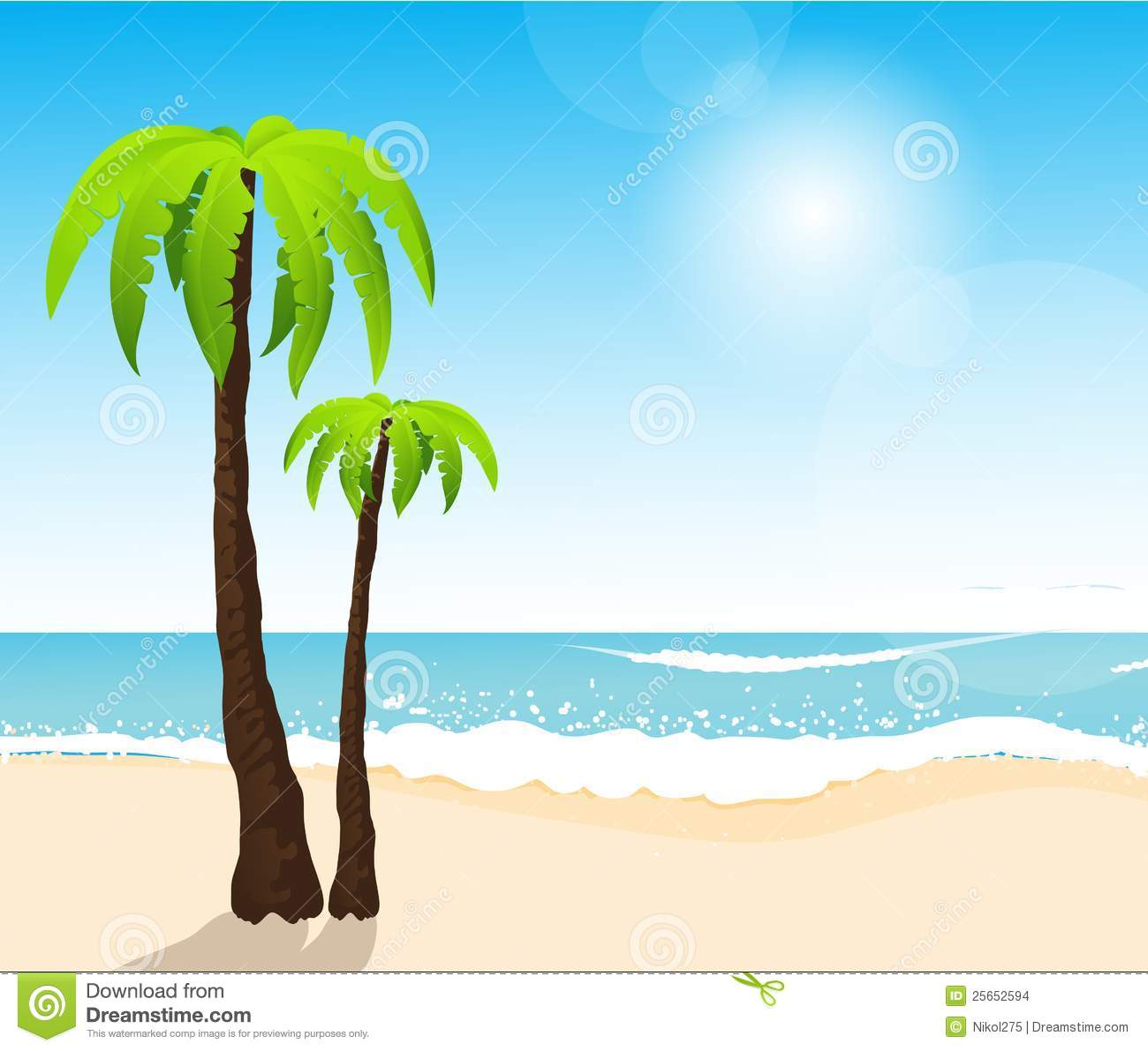 perfect tropical white sand beach with palm trees stock