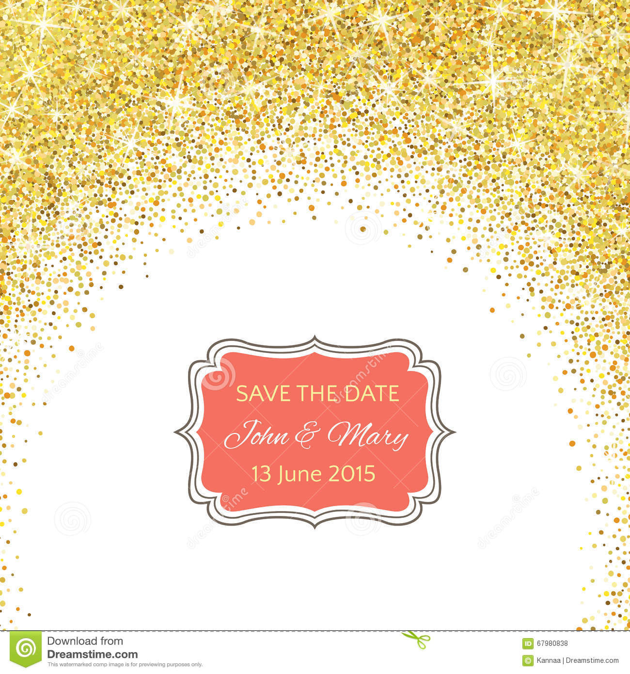 Perfect Wedding Template With Golden Confetti Theme Stock Vector ...