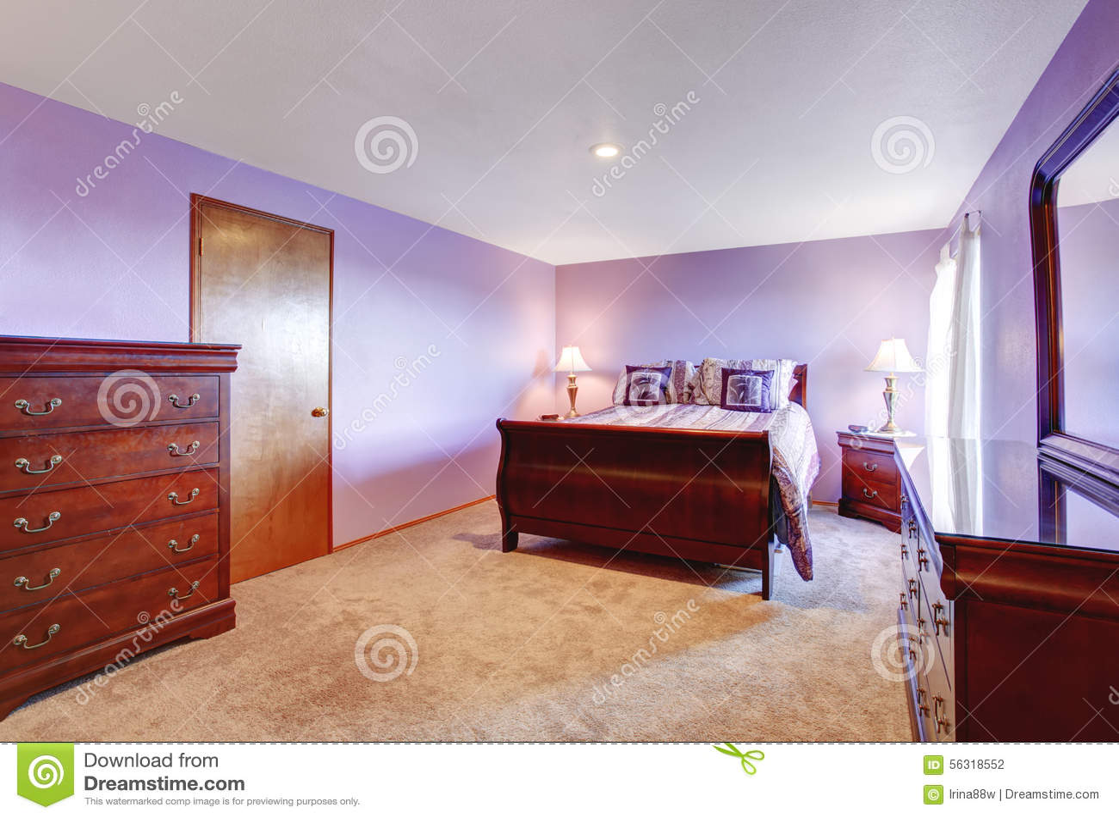 perfecte slaapkamer met purper thema