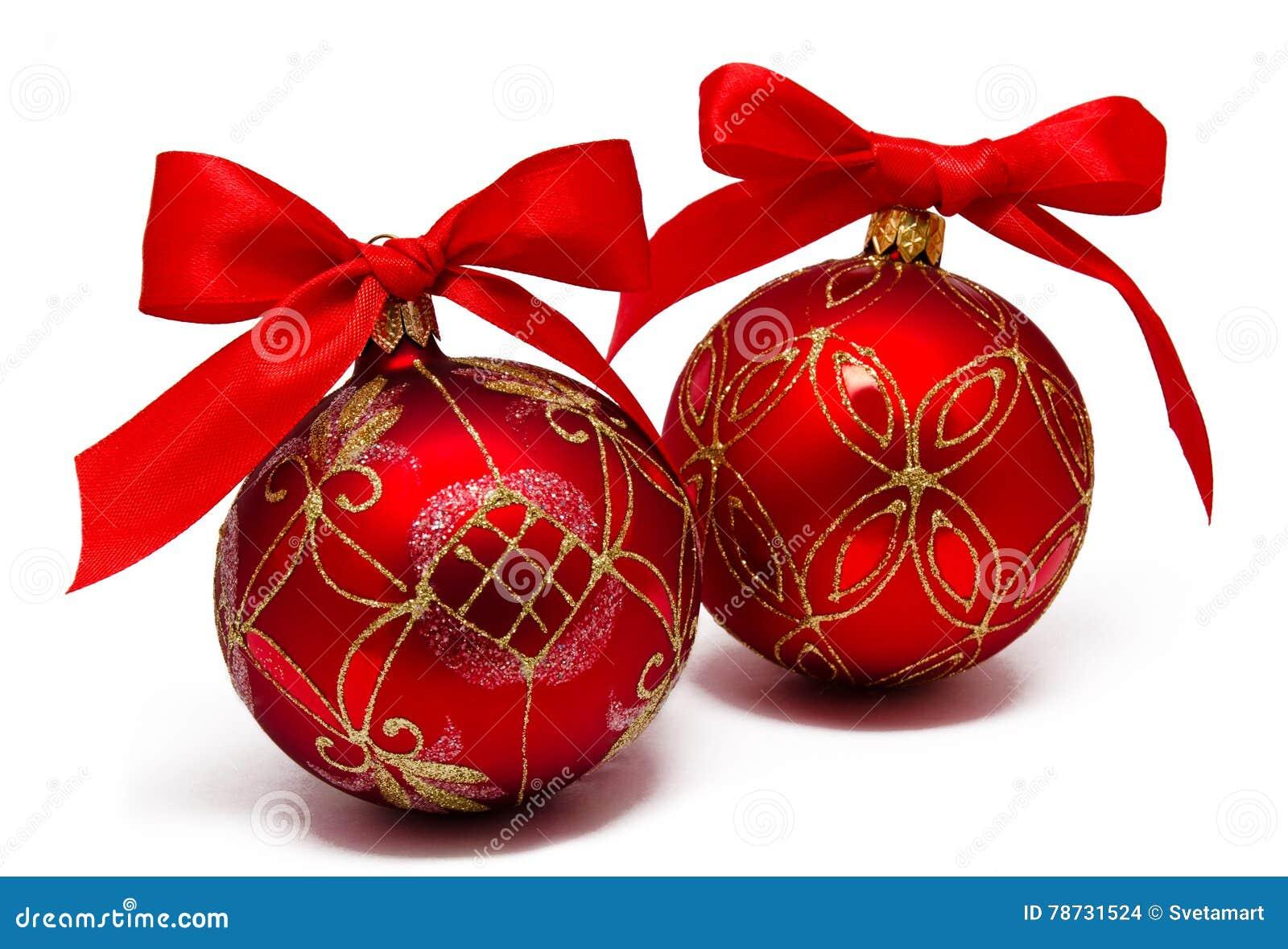 Perfekt röd julbalsl med det isolerade bandet