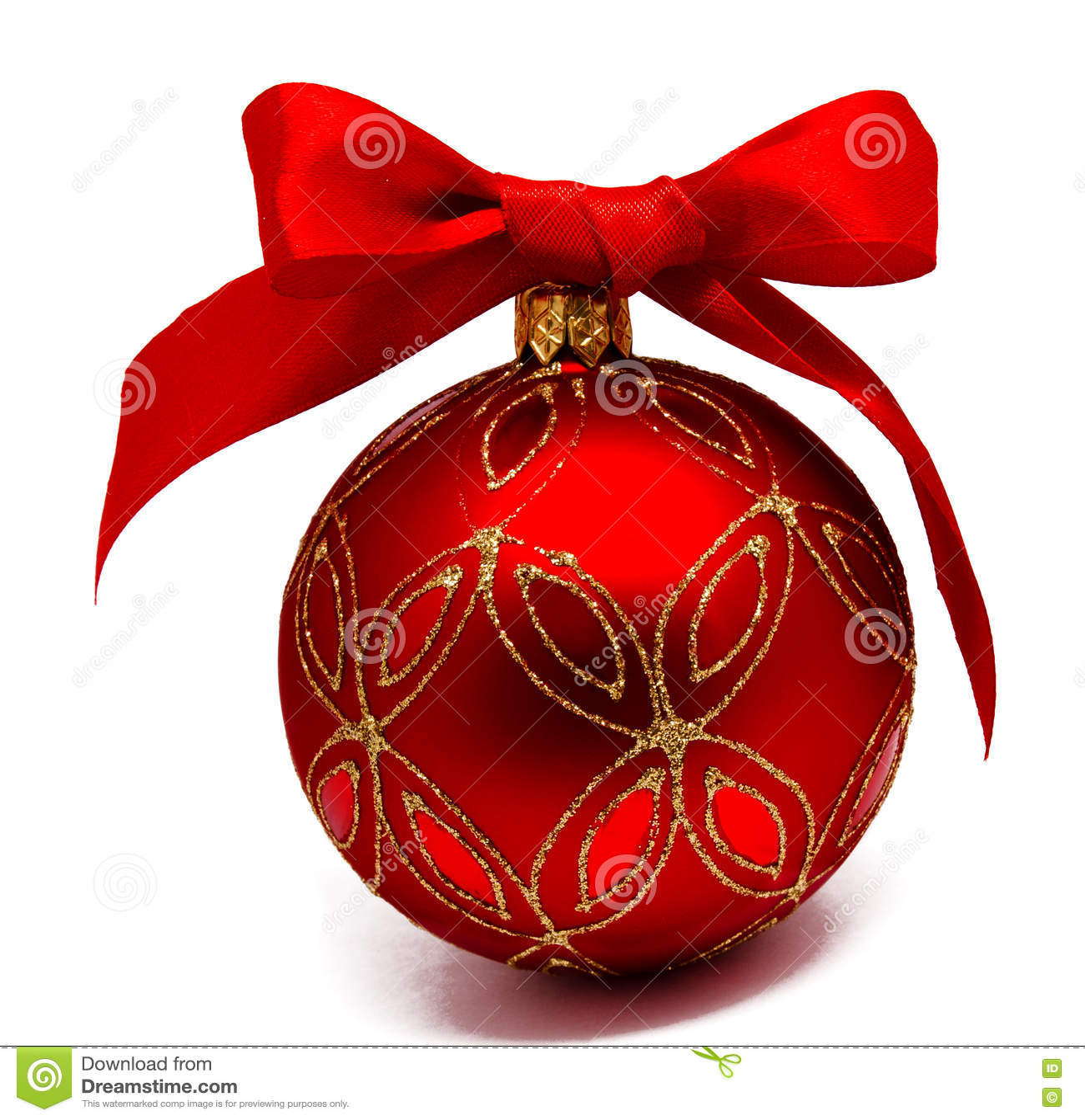 Perfekt röd julboll med det isolerade bandet