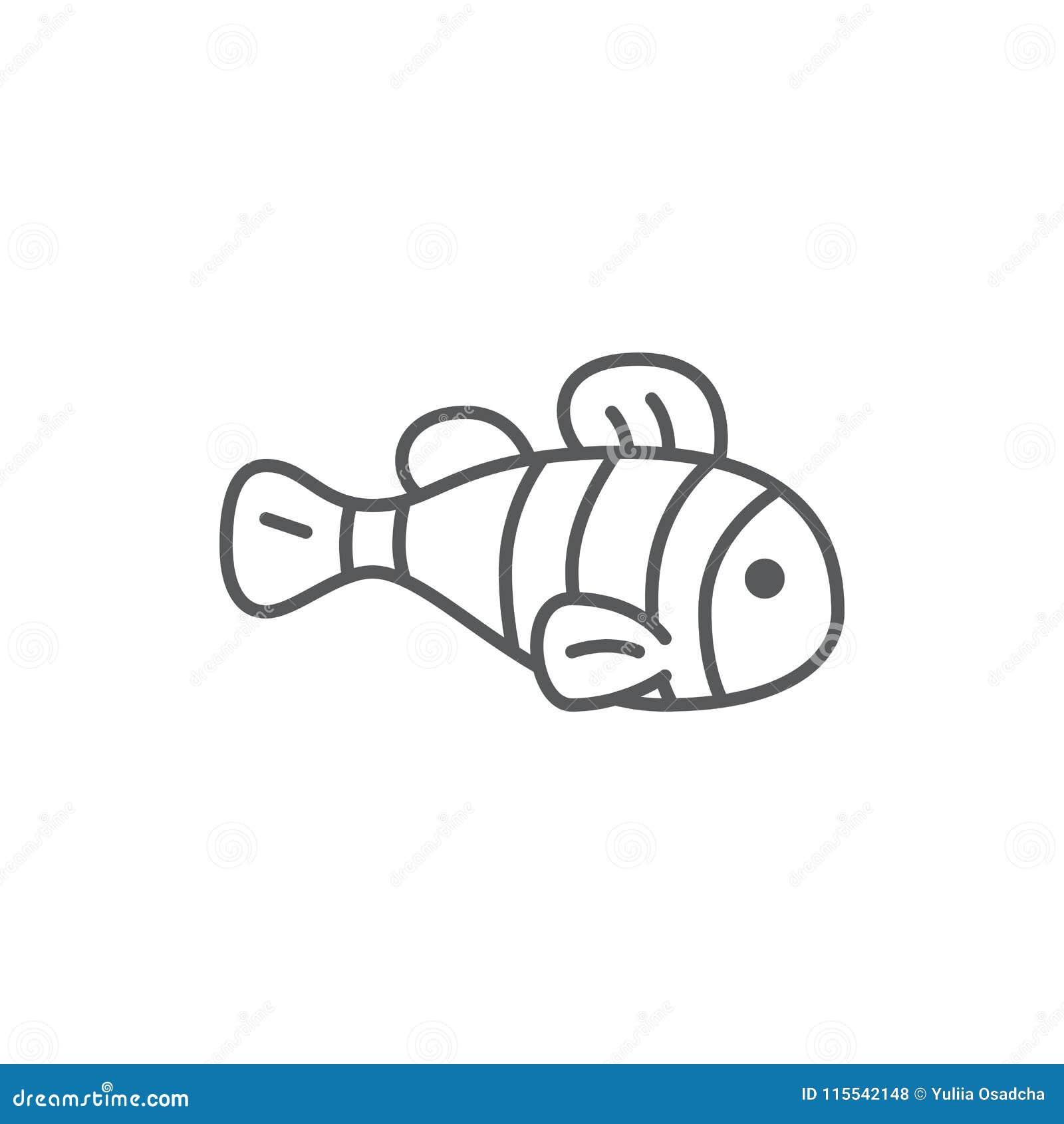 Perfekt symbol för gulligt PIXEL för fisk redigerbart - undervattens- djur för hav eller för akvarium i linjen konst som isoleras