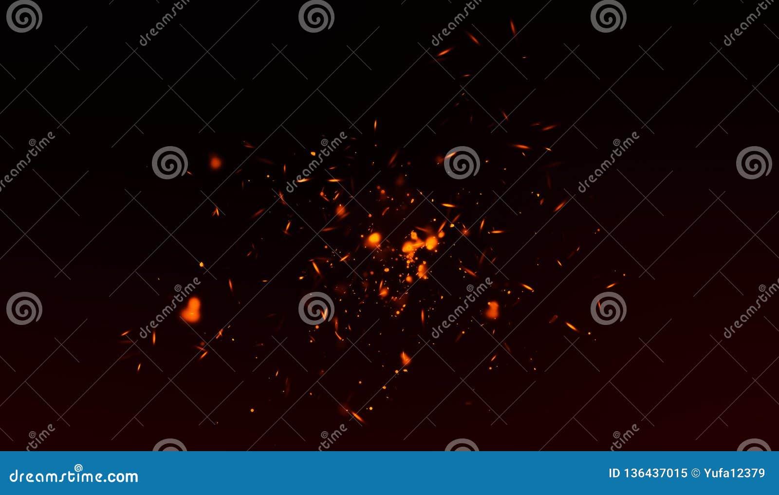 Perfekta gnistor för brandpartikelglöd på svart bakgrund Textursamkopieringar