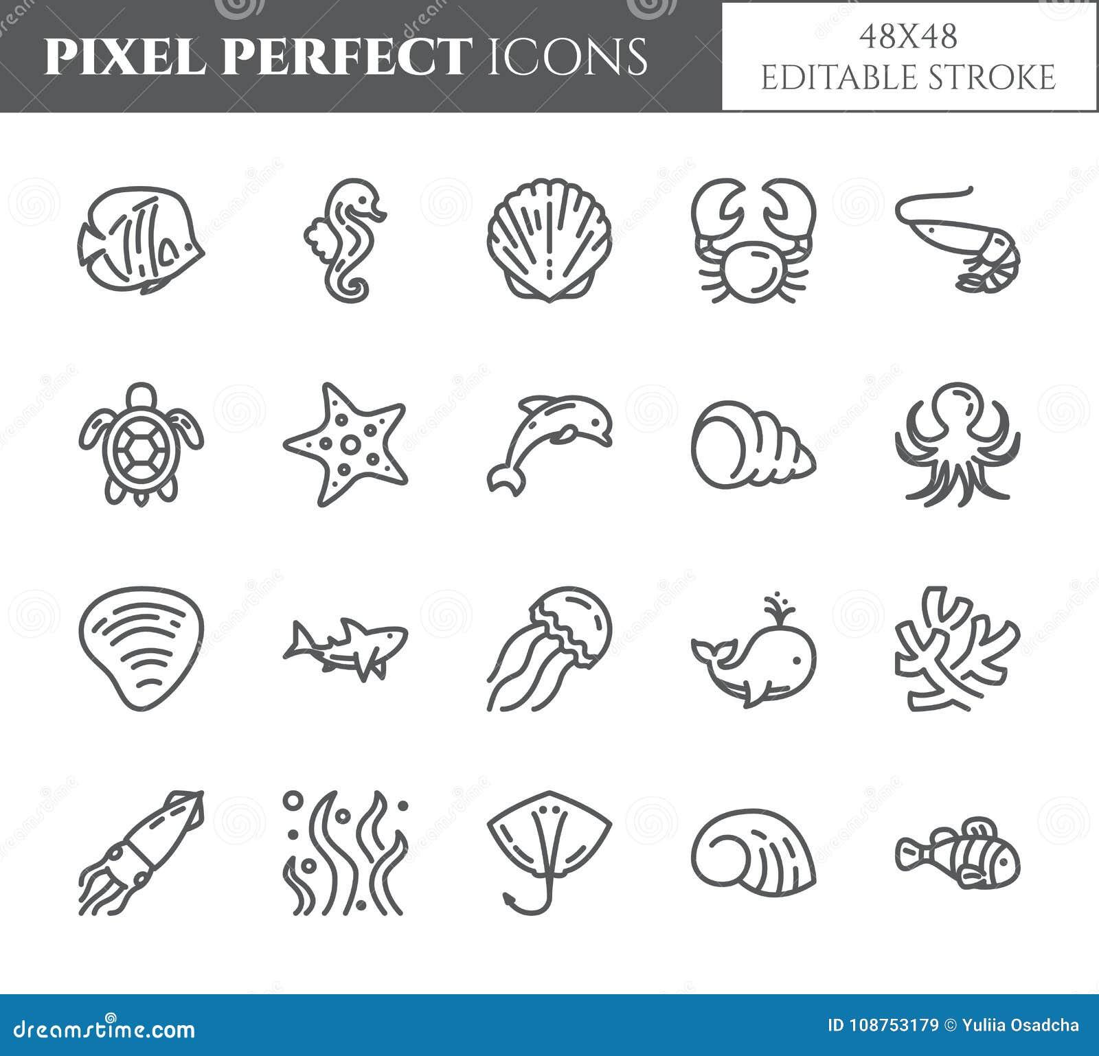 Perfekte dünne Linie Ikonen des Marinethemapixels Satz Elemente von Fischen, von Oberteil, von Krabbe, von Haifisch, von Delphin,