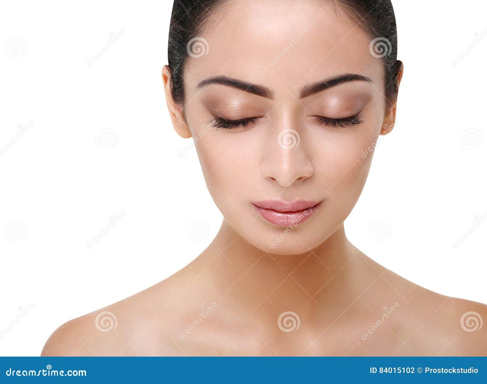 Perfektes Gesicht Des Schönen Indischen Mädchens Mit Geschlossenen