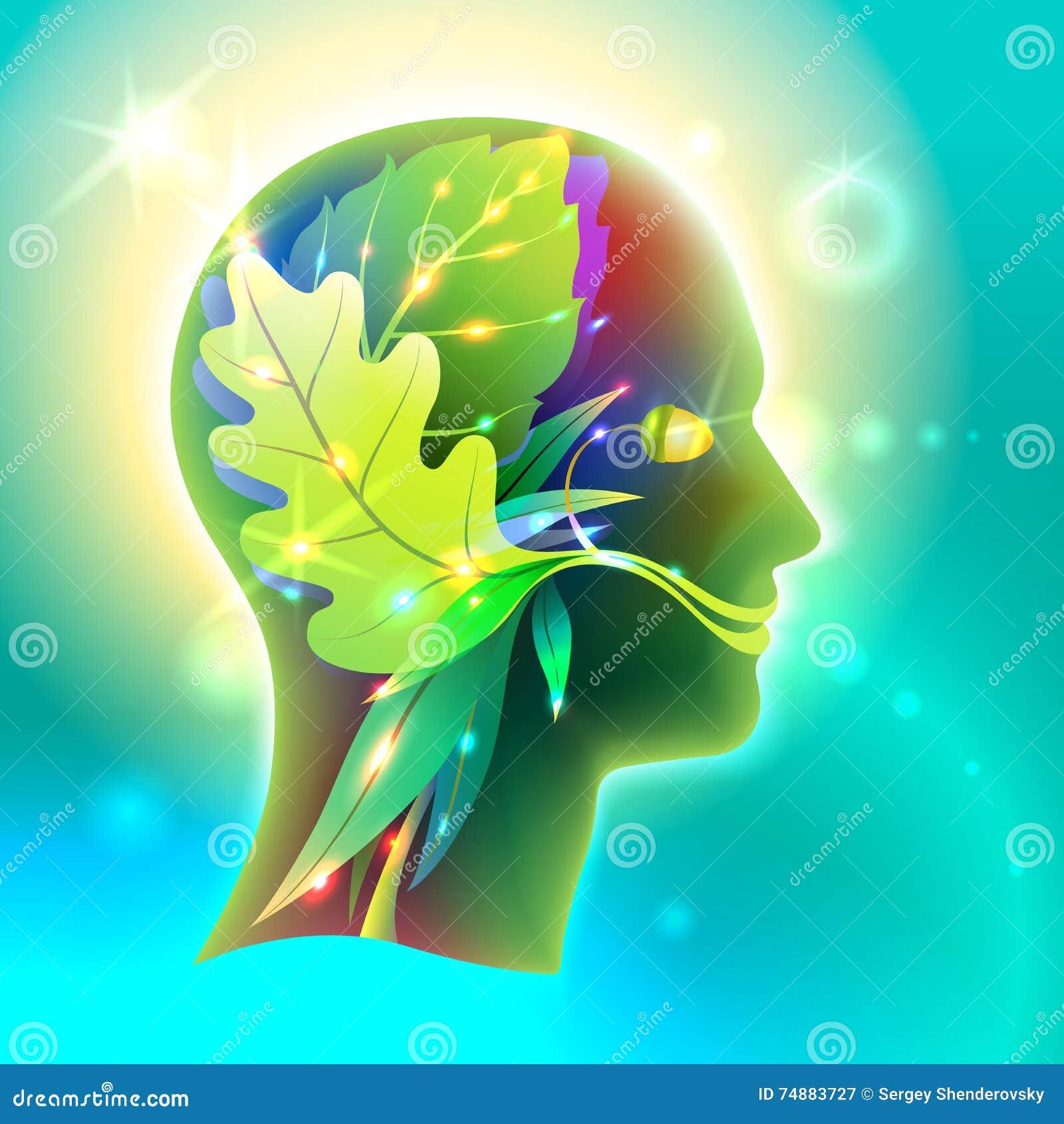 Perfil da cabeça do homem como a natureza