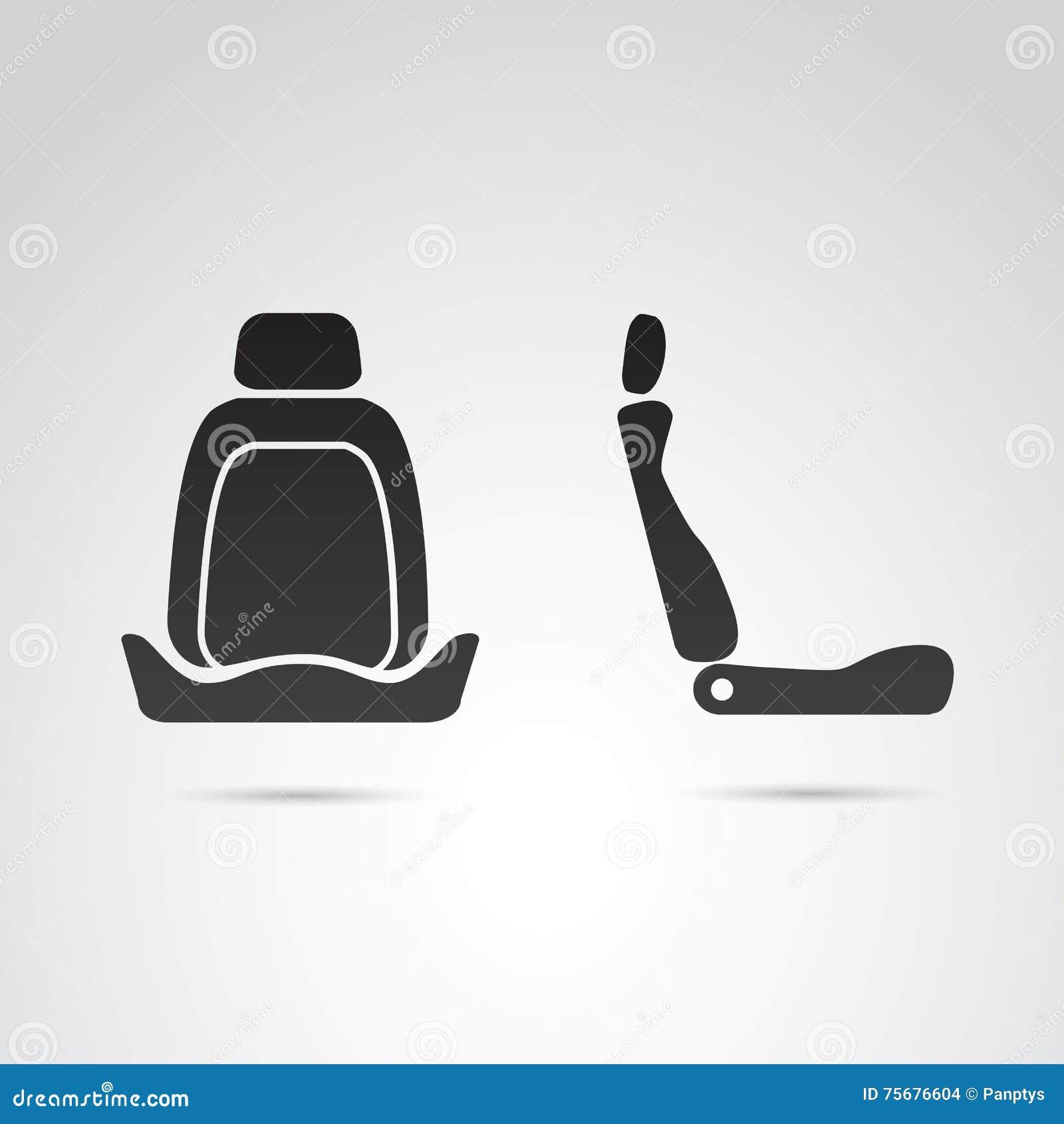 Perfil del asiento de carro e icono delantero