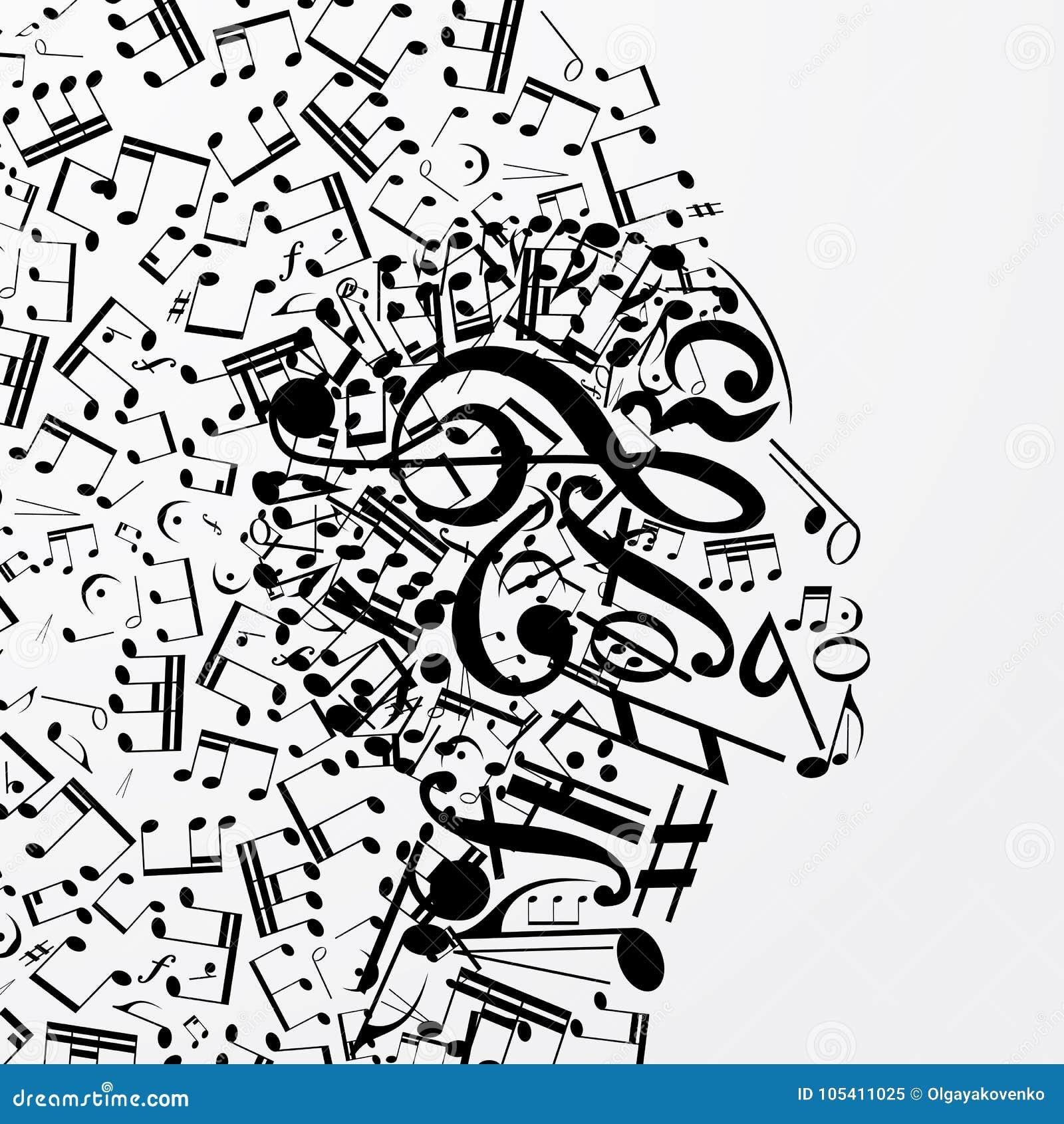 Perfil fêmea abstrato composto de sinais musicais, notas