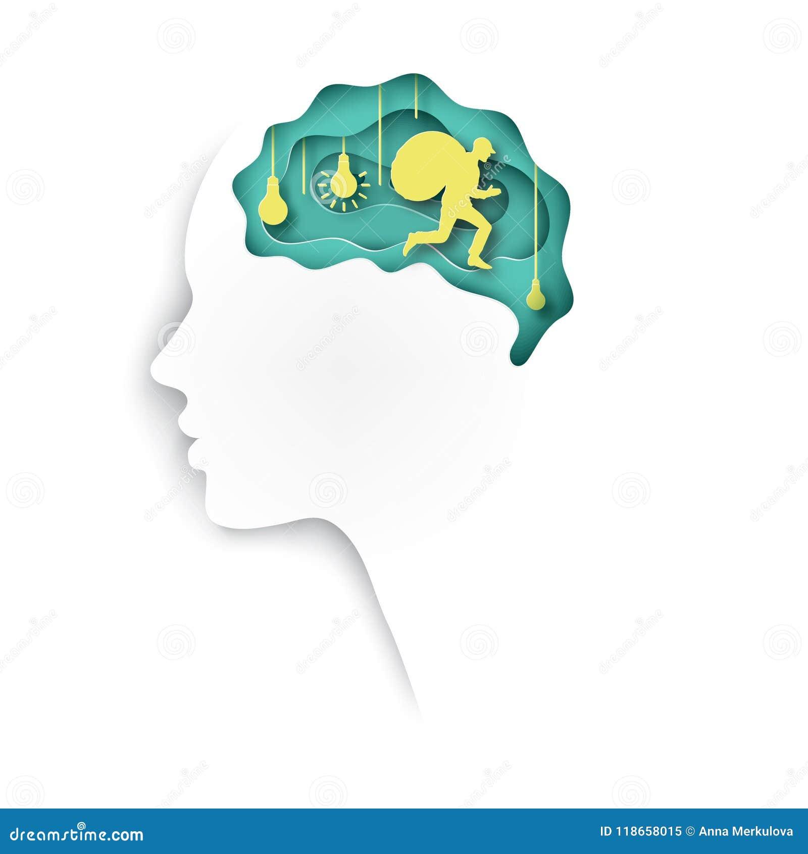 Perfil humano cortado de papel acodado del papel coloreado con el cerebro