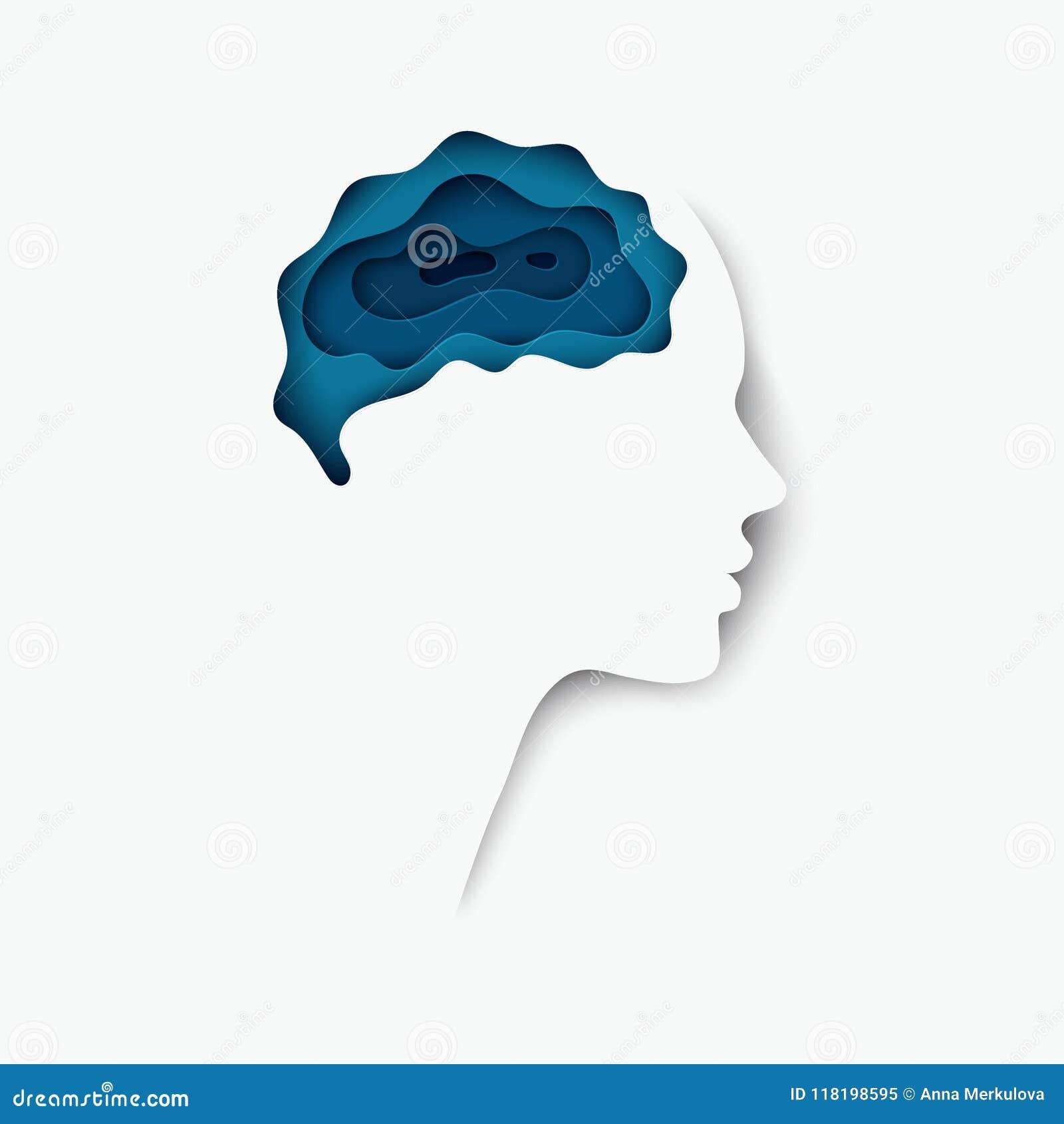 Perfil humano cortado mergulhado moderno do papel colorido com cérebro