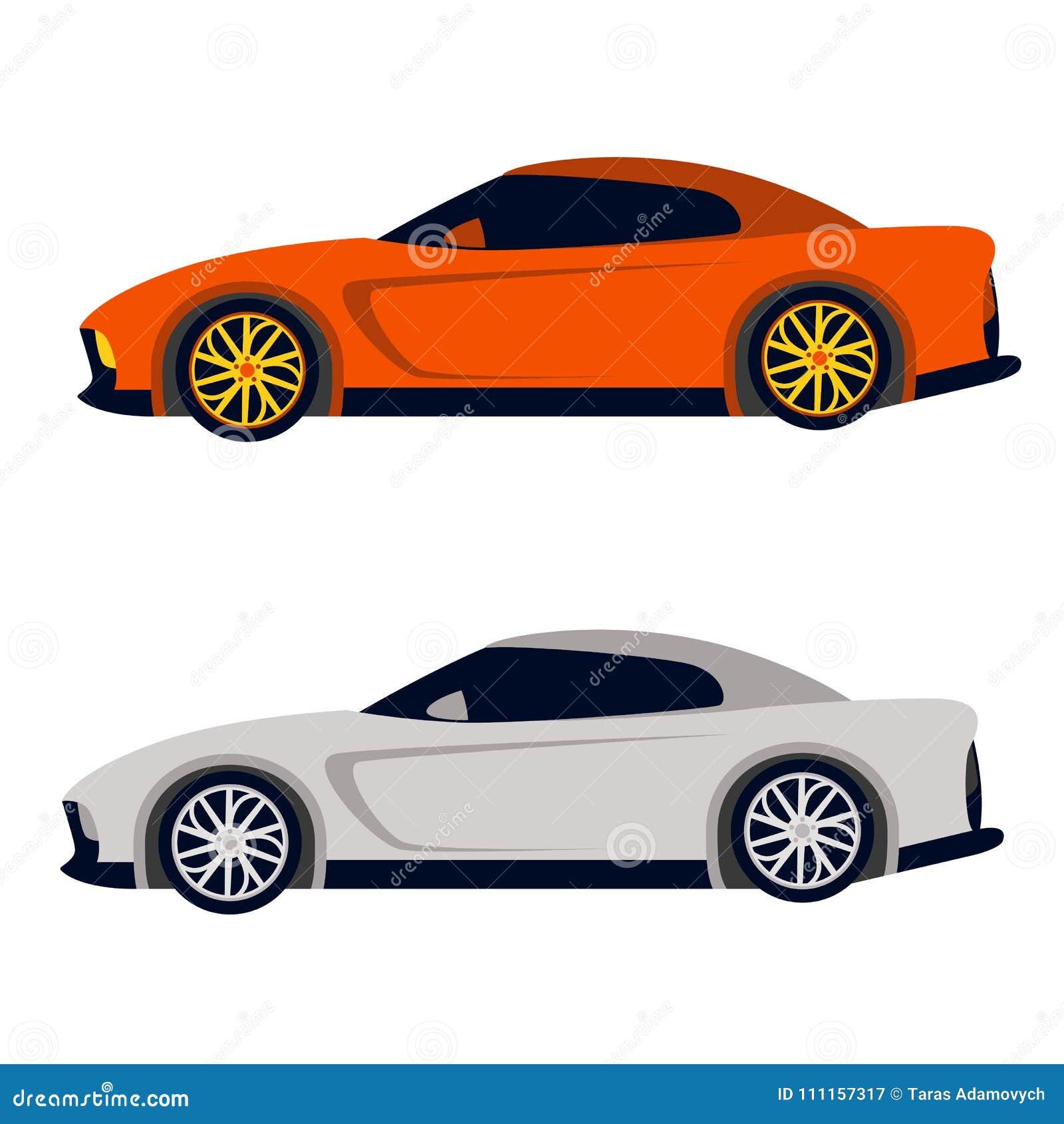 Perfil plano del estilo del ejemplo del vector del deporte del coche