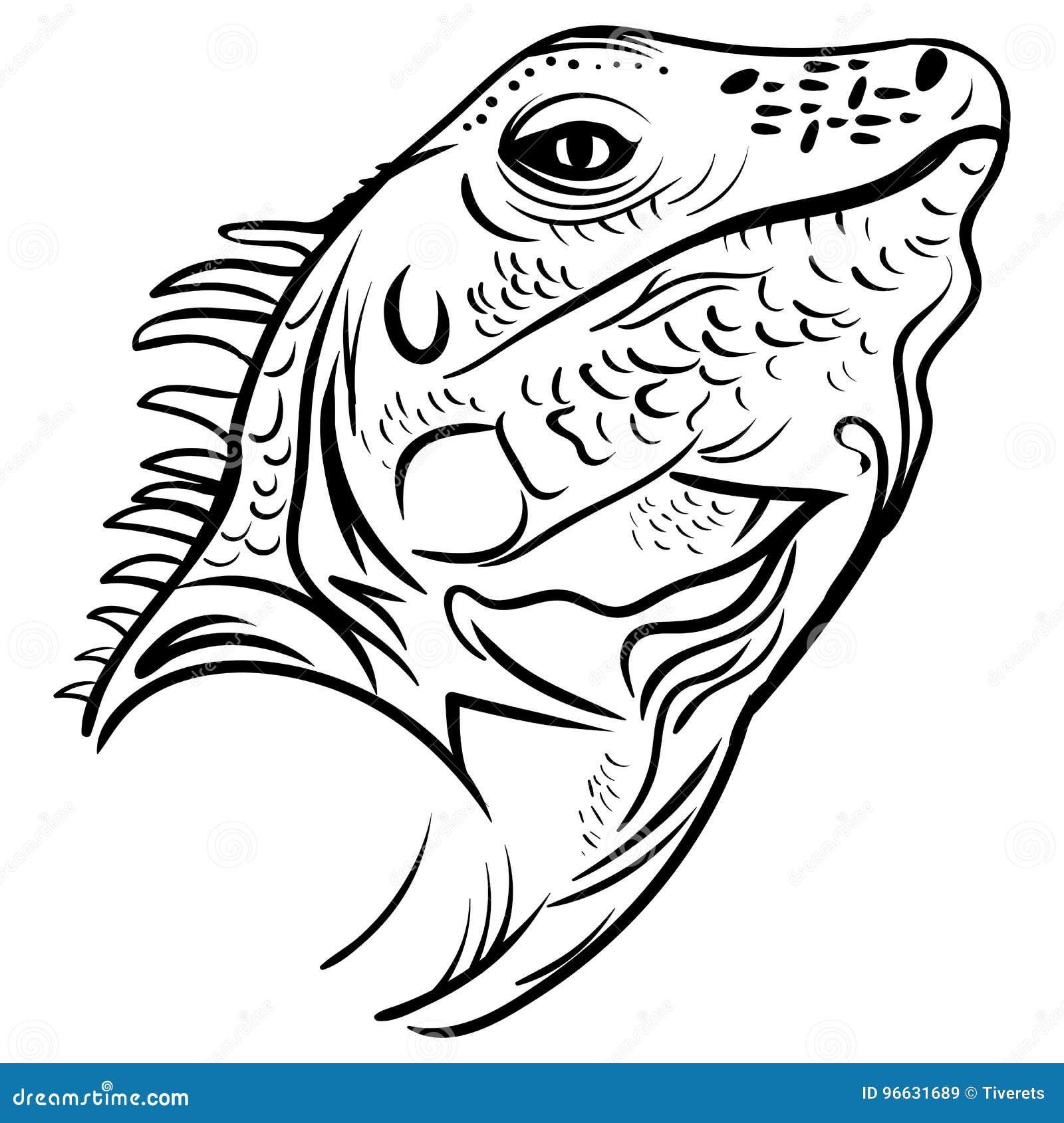 Perfil Principal De La Iguana, Tatuaje Del Vector Del Bosquejo Ilustración del Vector ...