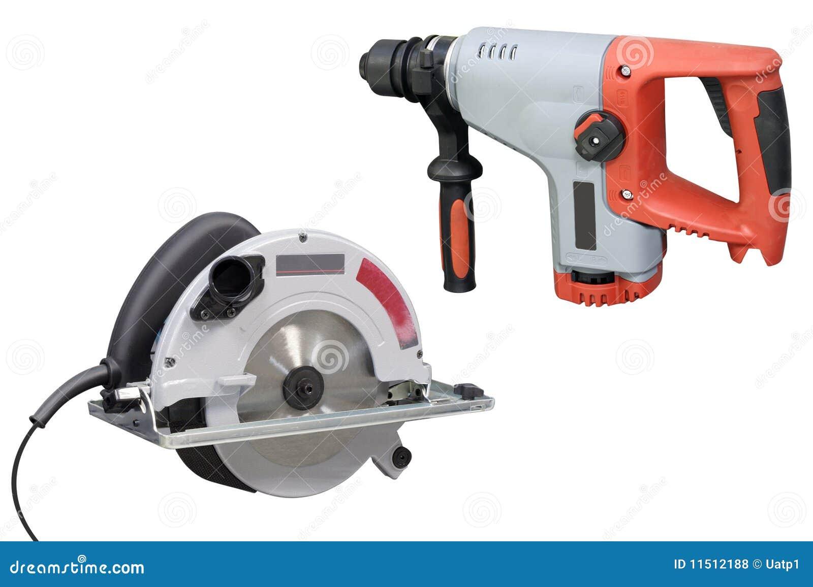 perforator und elektrische säge stockfoto - bild von haus