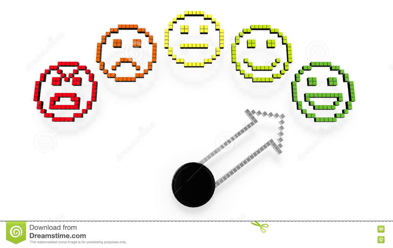 Green Smiley Face Stock Photos: Performance Gauge Pointing At Green Smiley Stock