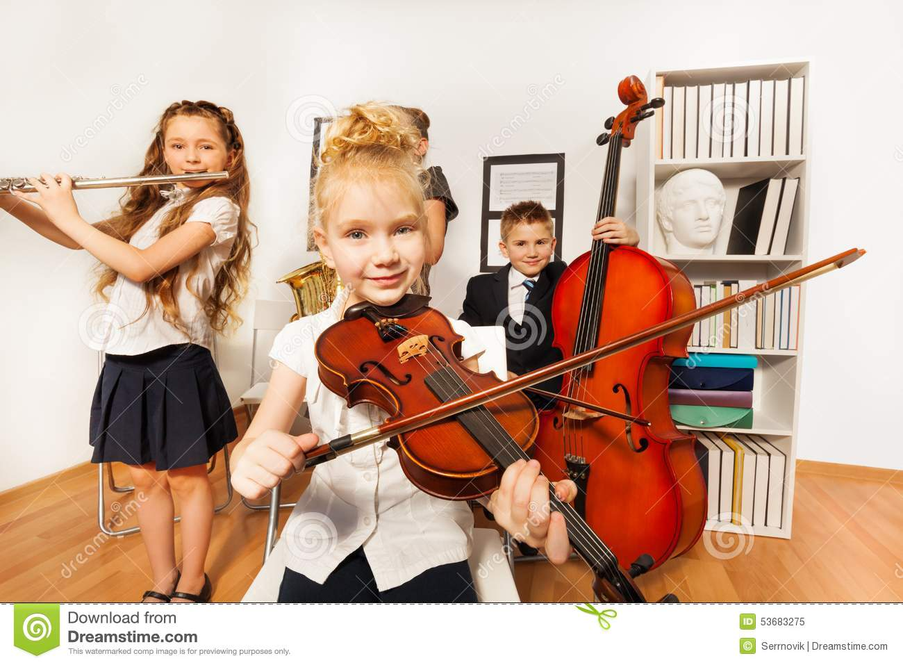 Worksheet Musical Instruments To Play school children play musical instruments together stock photo performance of kids who royalty free photo