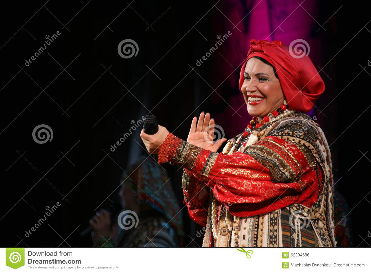 The performance on the stage of the national folk singer of russian songs nadezhda babkina and theatre russian song