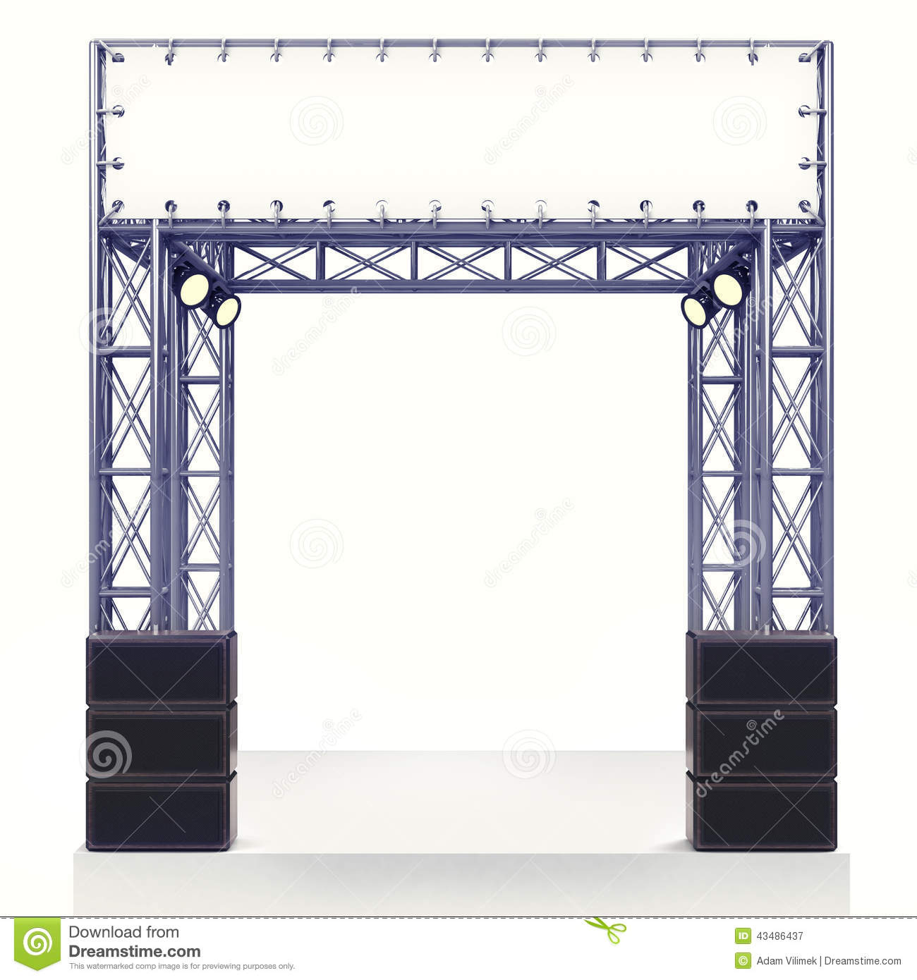 Staging Of Steel Images : Performance stage steel construction with speaker on white