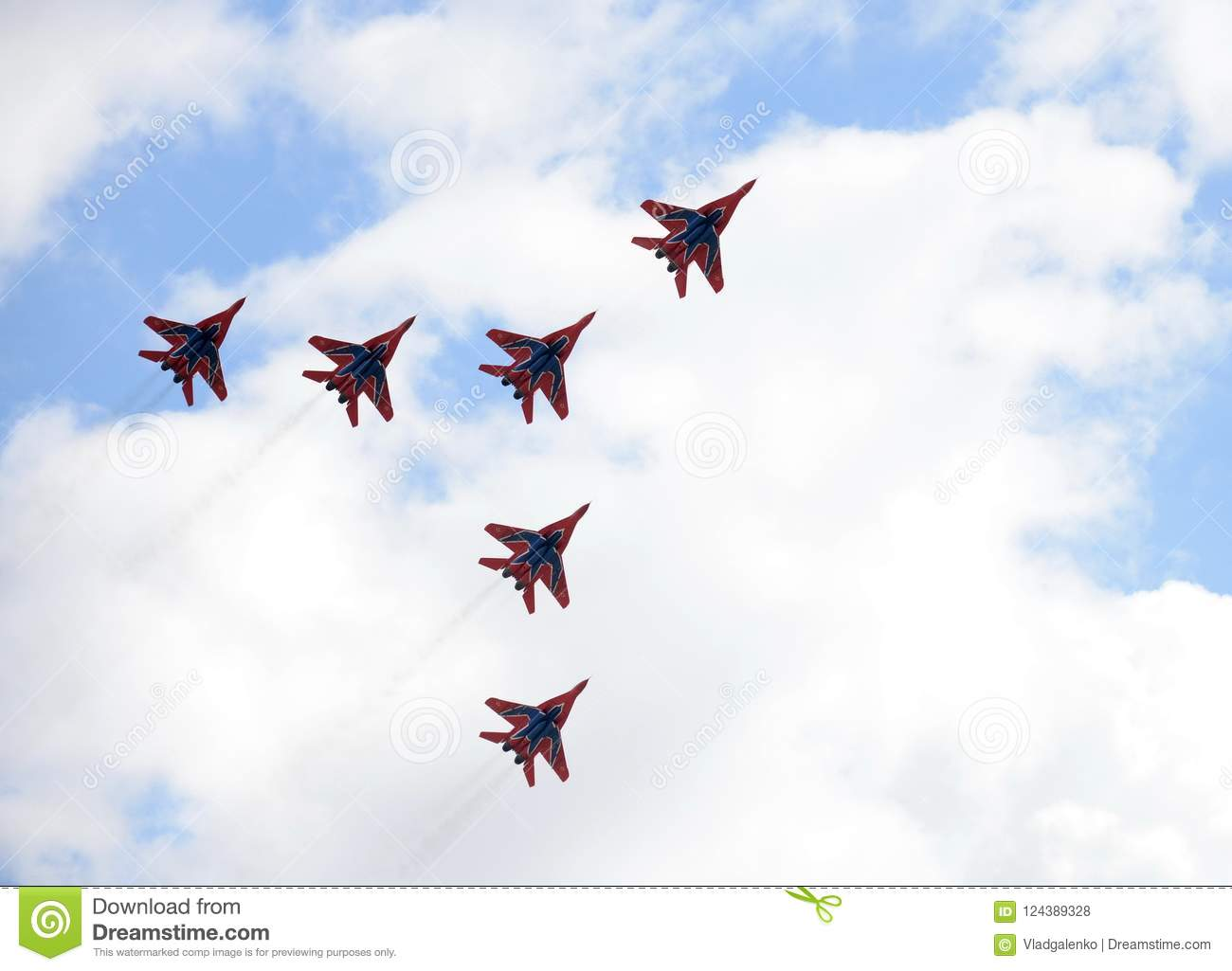 Performance of the Swifts aerobatic team on multi-purpose highly maneuverable MiG-29 fighters over the Myachkovo airfield