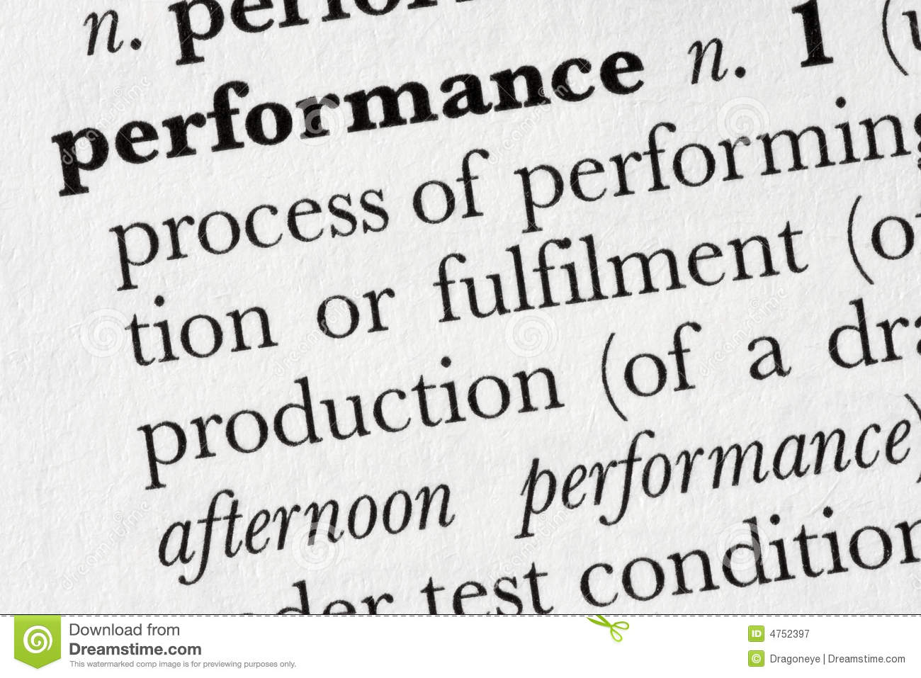 Performance Word Dictionary De Stock Image - Image: 4752397 - photo#28