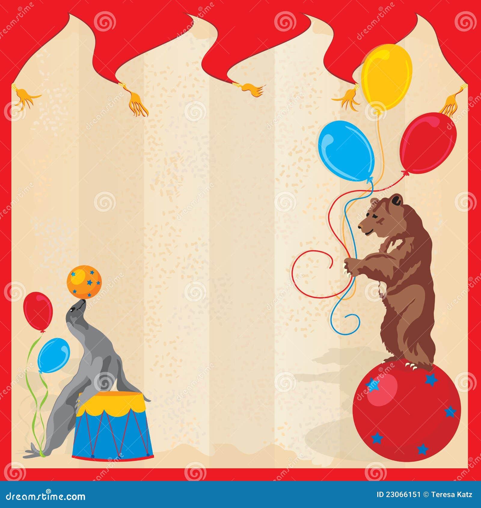 Performing Animals Circus Birthday Party Invitatio
