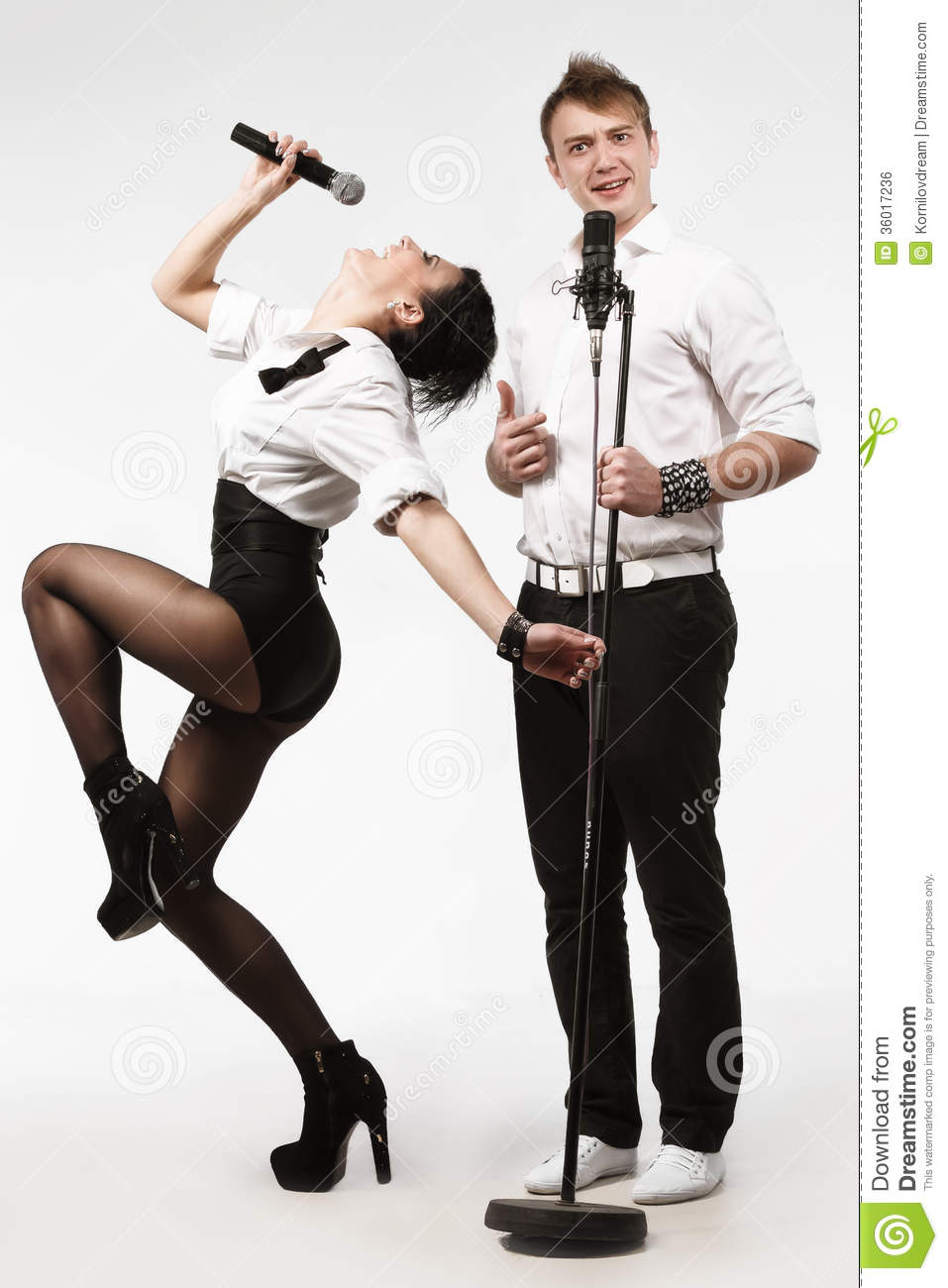 Performs Duet Singing Microphone Royalty Free Stock Image