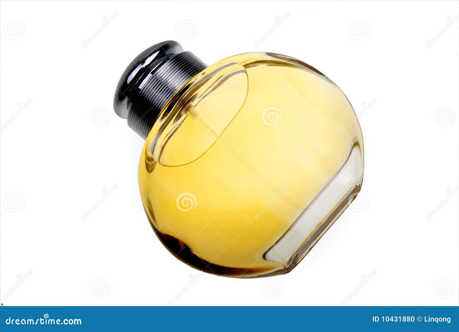 Bottle of top grade perfume on white background