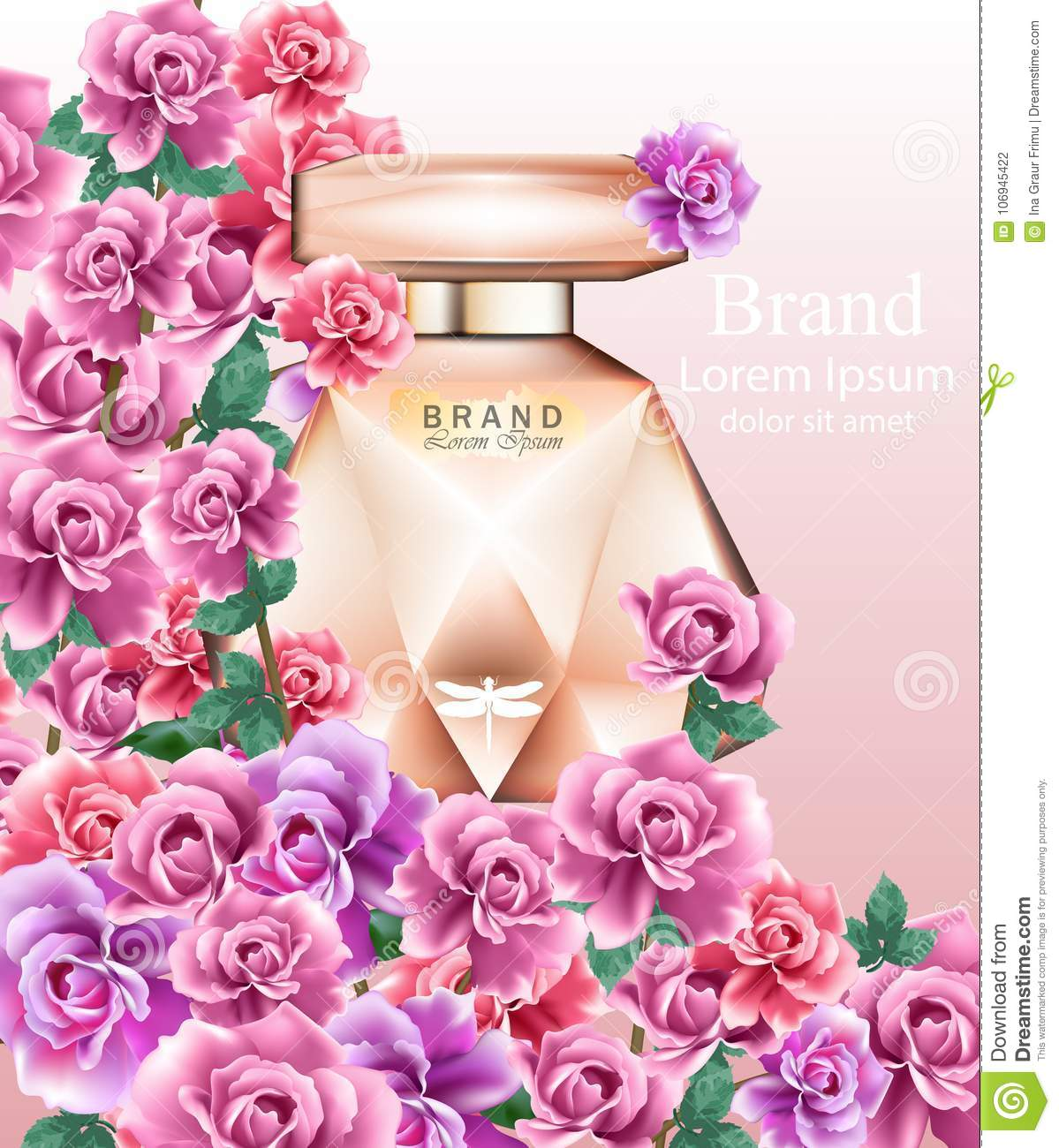 Perfume Bottle Delicate Roses Fragrance Realistic Vector Product