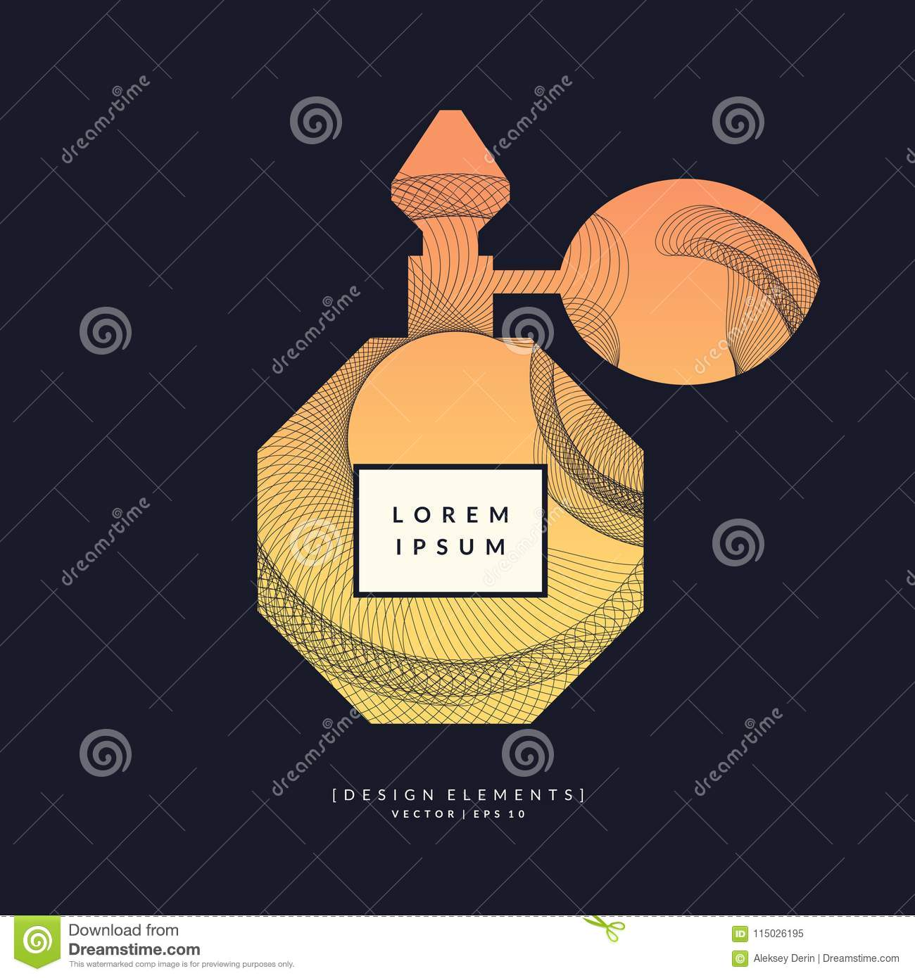 Perfume bottle with dynamic lines and waves. Bright modern poster for advertising and sale Fragrance.