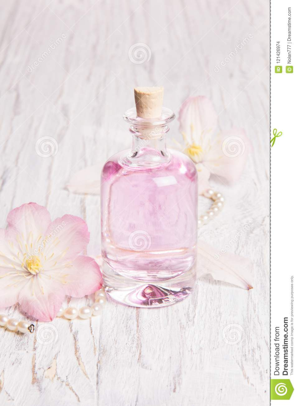 Perfume Bottle And White Flowers Stock Photo Image Of Object