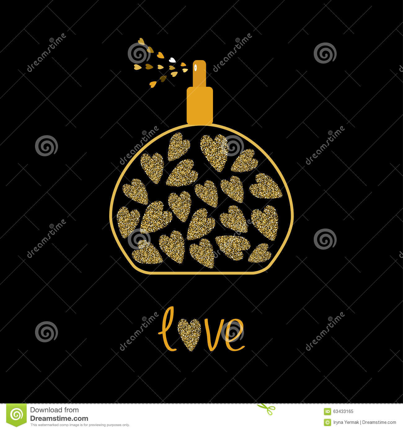 Perfume Bottle With Hearts Inside Gold Sparkles Glitter Texture