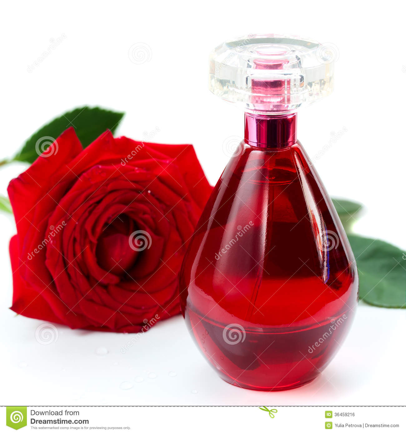 Perfume bottle and a red rose stock photo image 36459216 - Botellas para perfumes ...