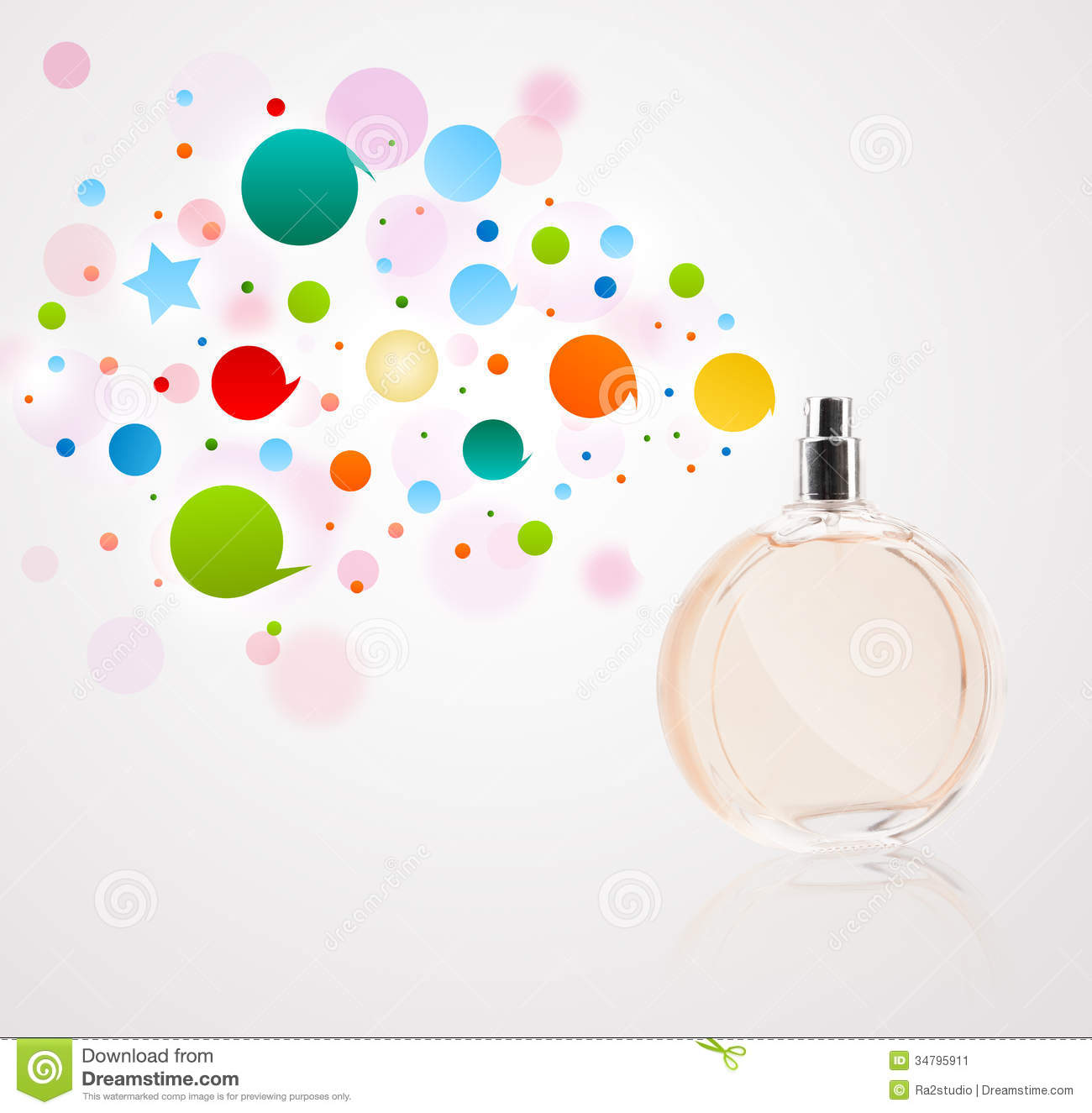 perfume bottle spraying colored bubbles stock image image of