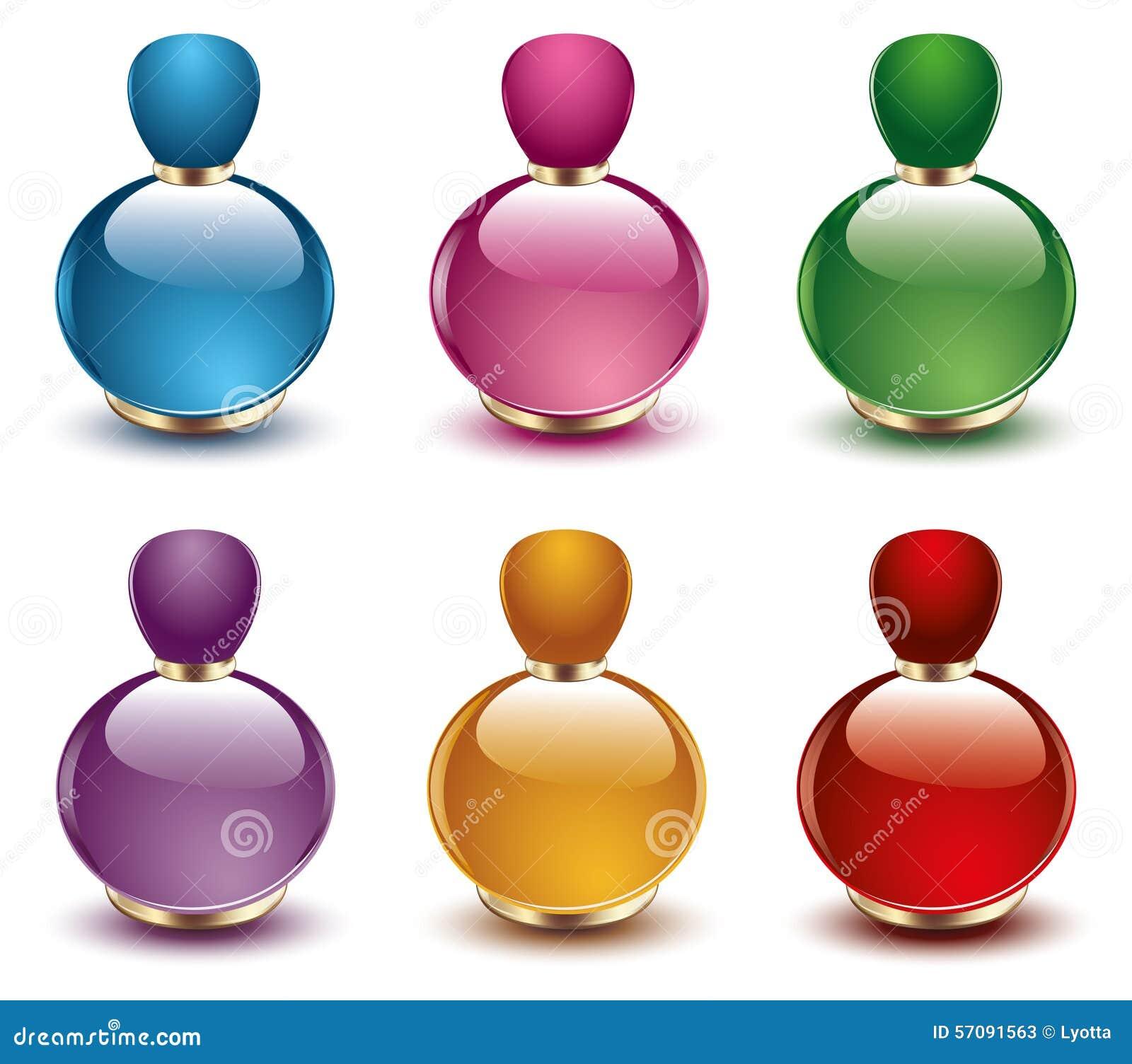 Perfume Bottles Vector Stock Vector. Illustration Of Gold