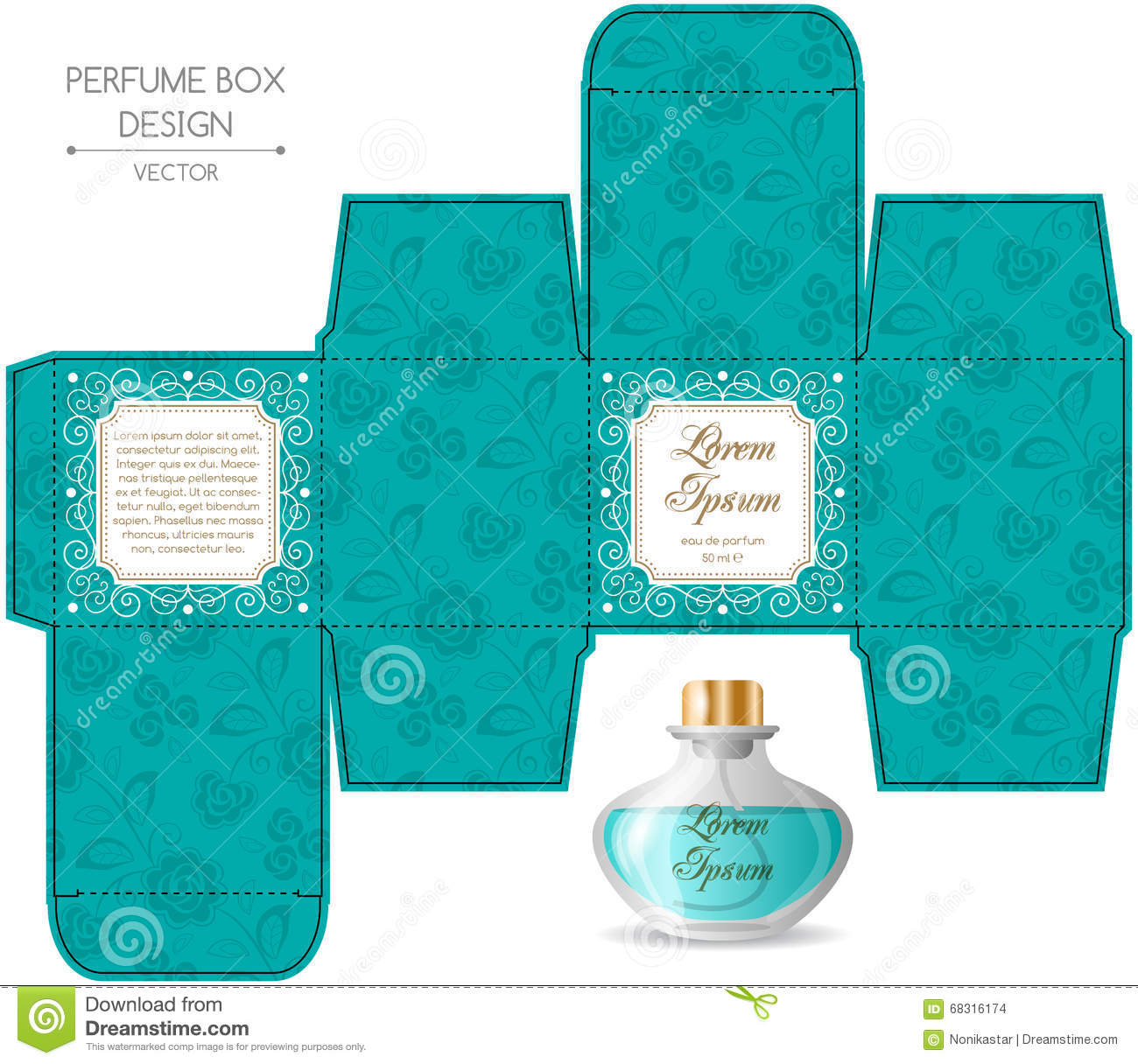 Perfume box design stock vector image of cosmetic gift for Cologne box template