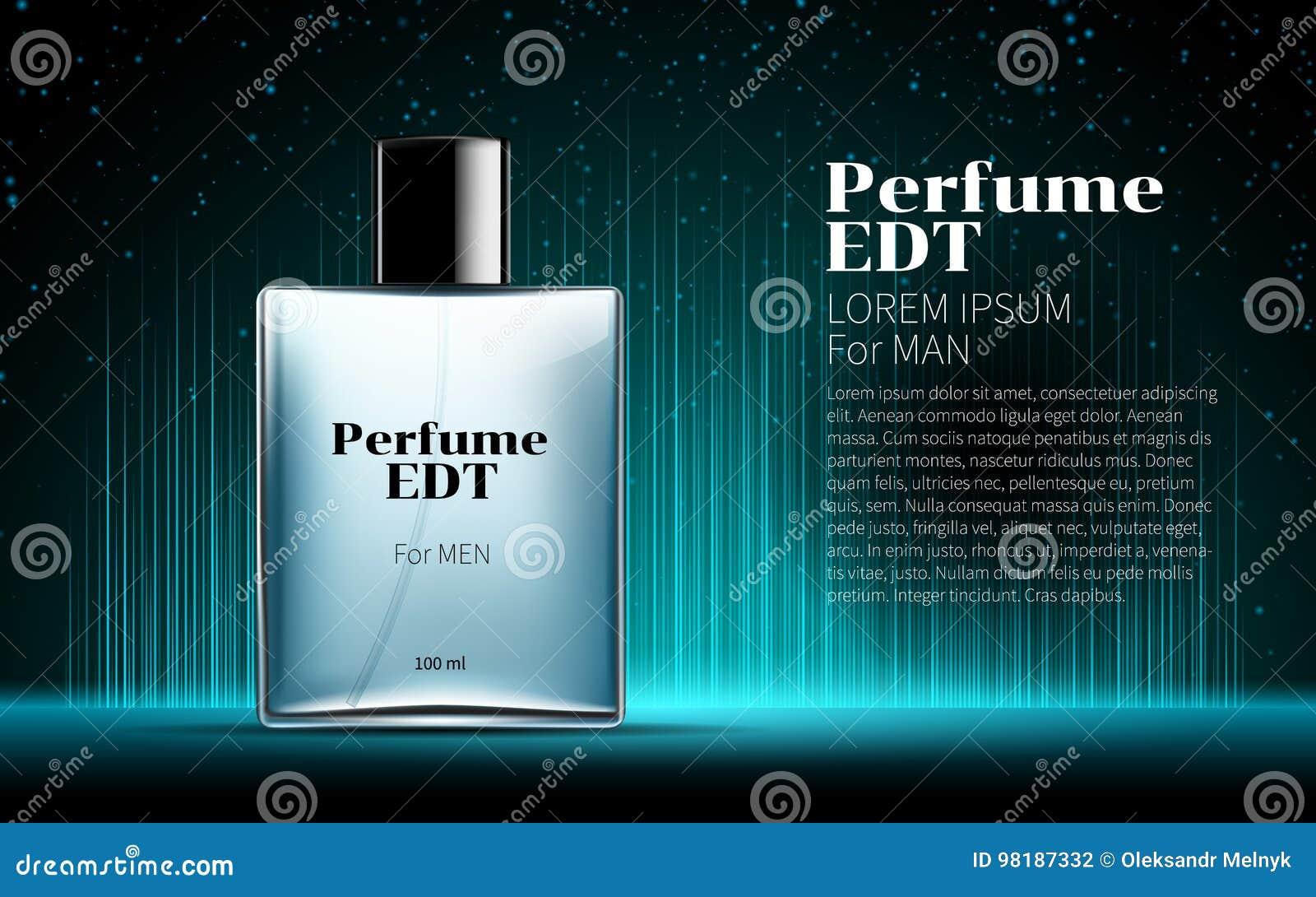 Perfume clássico do ` s dos homens contido em uma garrafa azul de vidro quadrada