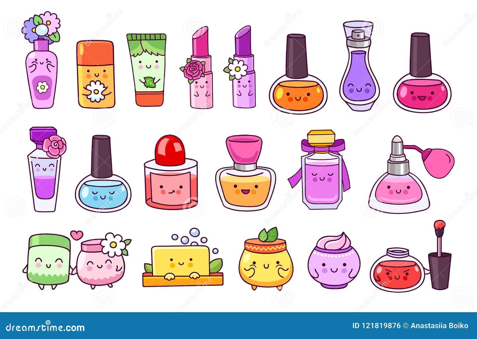 Perfume, cosméticos, verniz para as unhas, batom, brilho do bordo, frasco de creme, sabão e champô