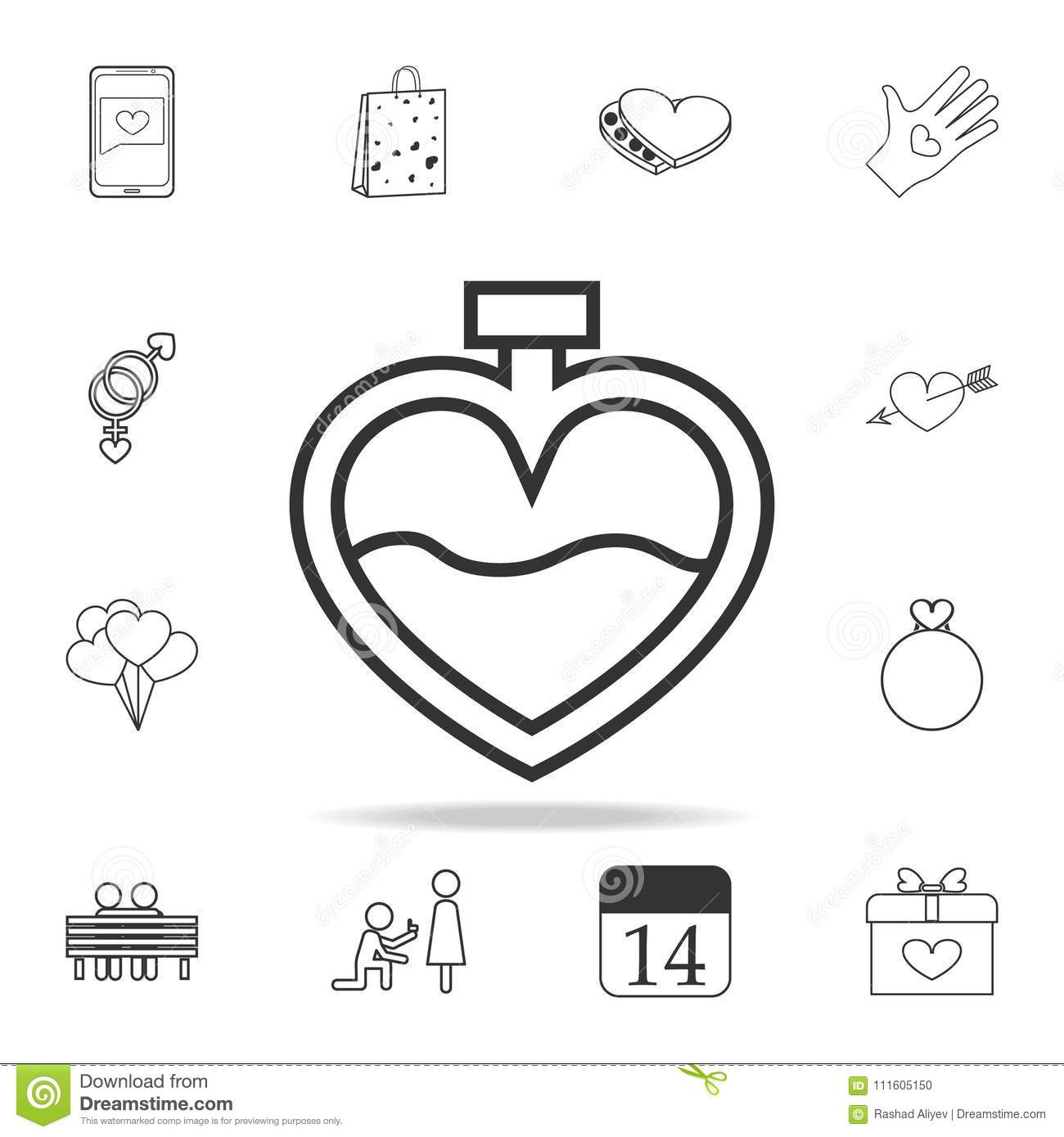 Perfume In The Form Of Heart Icon  Set Of Love Element Icons