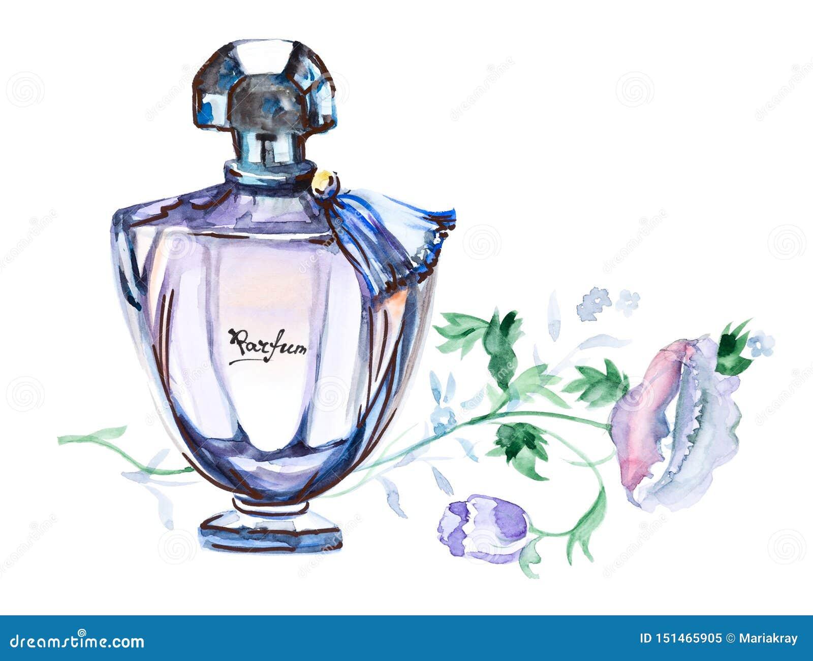 Perfume a garrafa, ilustração tirada mão da aquarela da forma isolada em um fundo branco