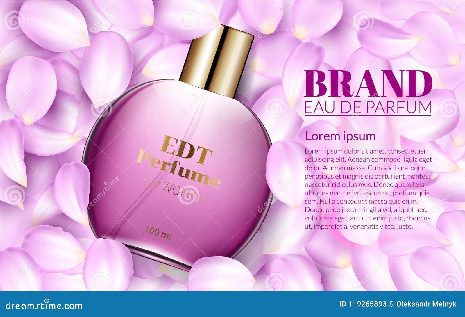 Perfume Glass Bottle Lies On The Pink Flower Petals Design