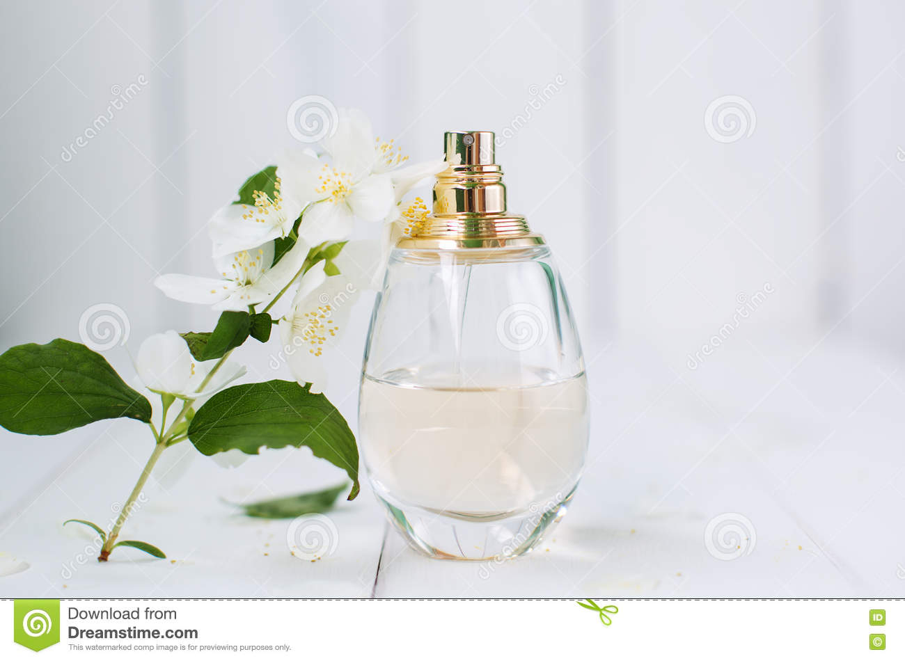 Perfume And Jasmine Flowers Stock Image Image Of Aromatherapy