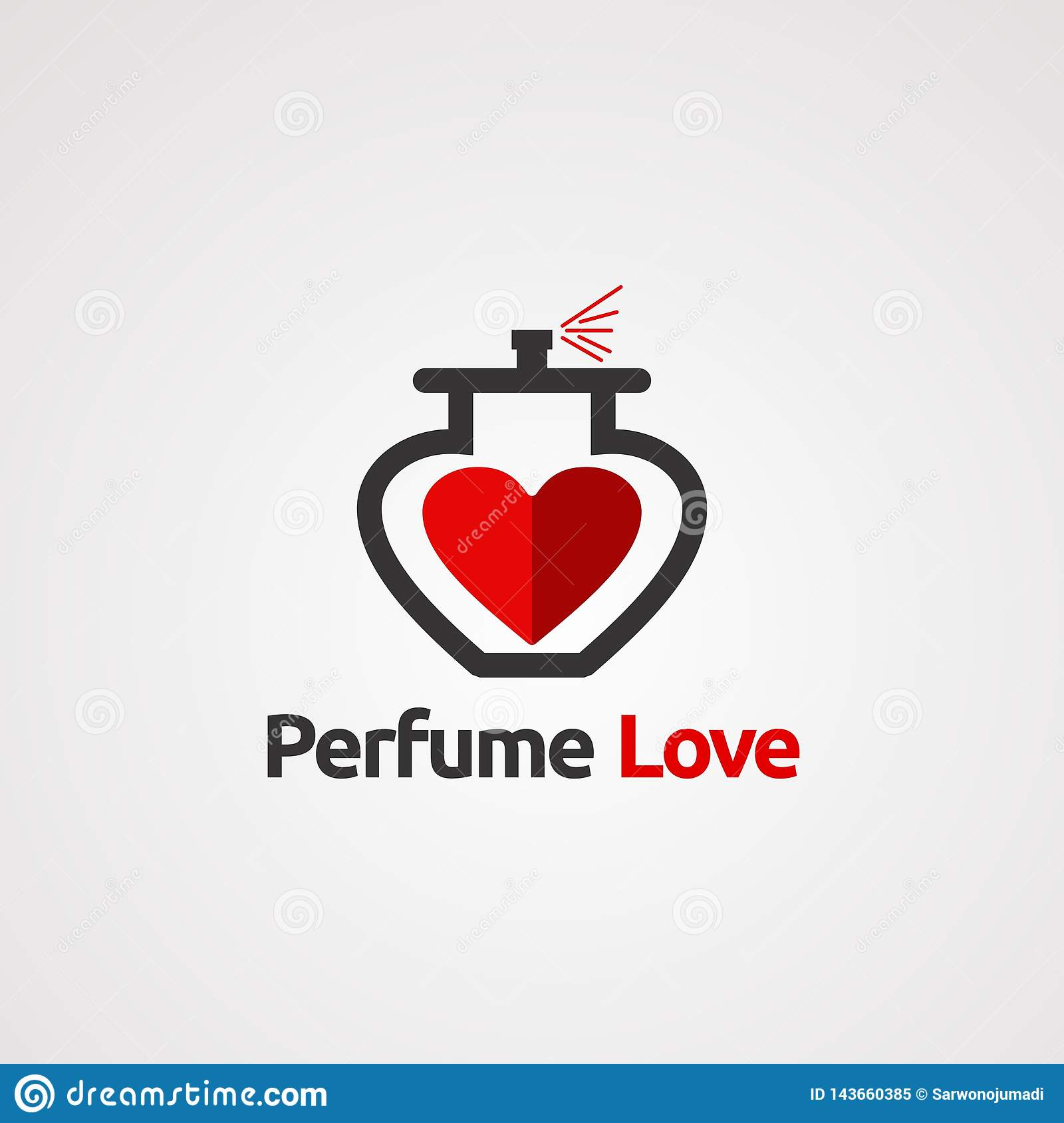 Perfume red love with elegant concept logo vector, icon, element, and template for company