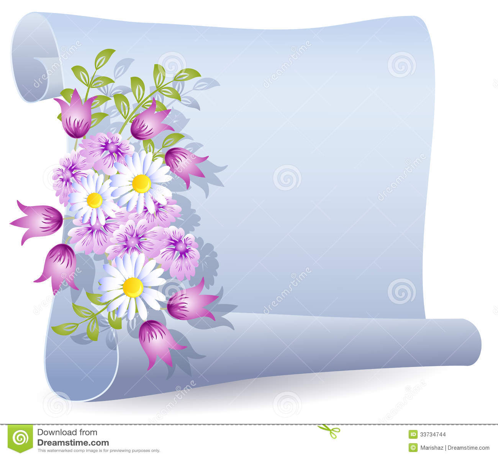 Pergamena con i fiori illustrazione vettoriale immagine for Immagine pergamena da colorare
