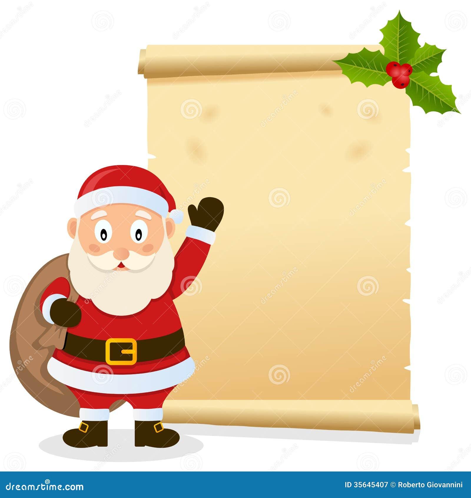 de archivo libre de regalías: Pergamino de la Navidad con Santa Claus ...