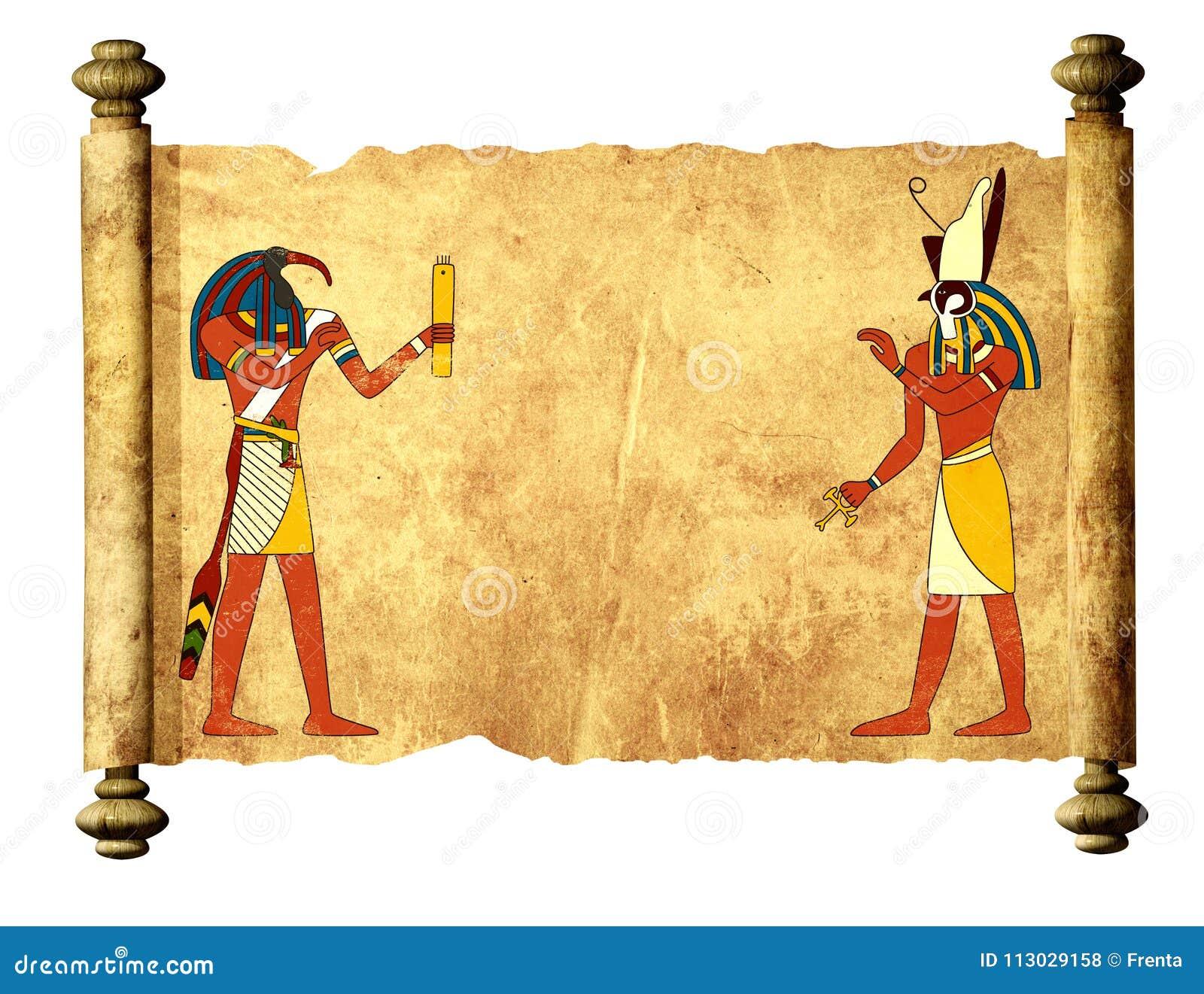 Pergamino viejo con las imágenes egipcias Toth y Horus de dioses