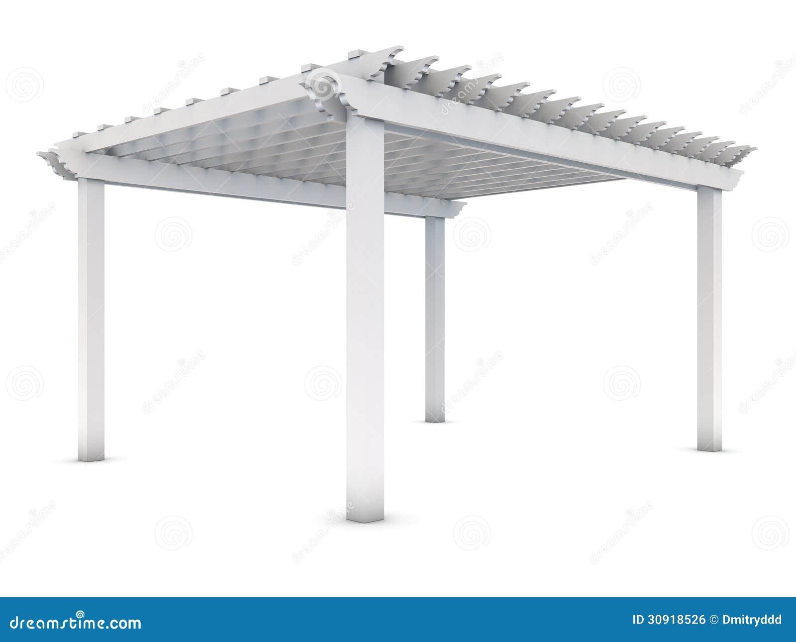 pergola en bois blanche sur le blanc image libre de droits image 30918526. Black Bedroom Furniture Sets. Home Design Ideas