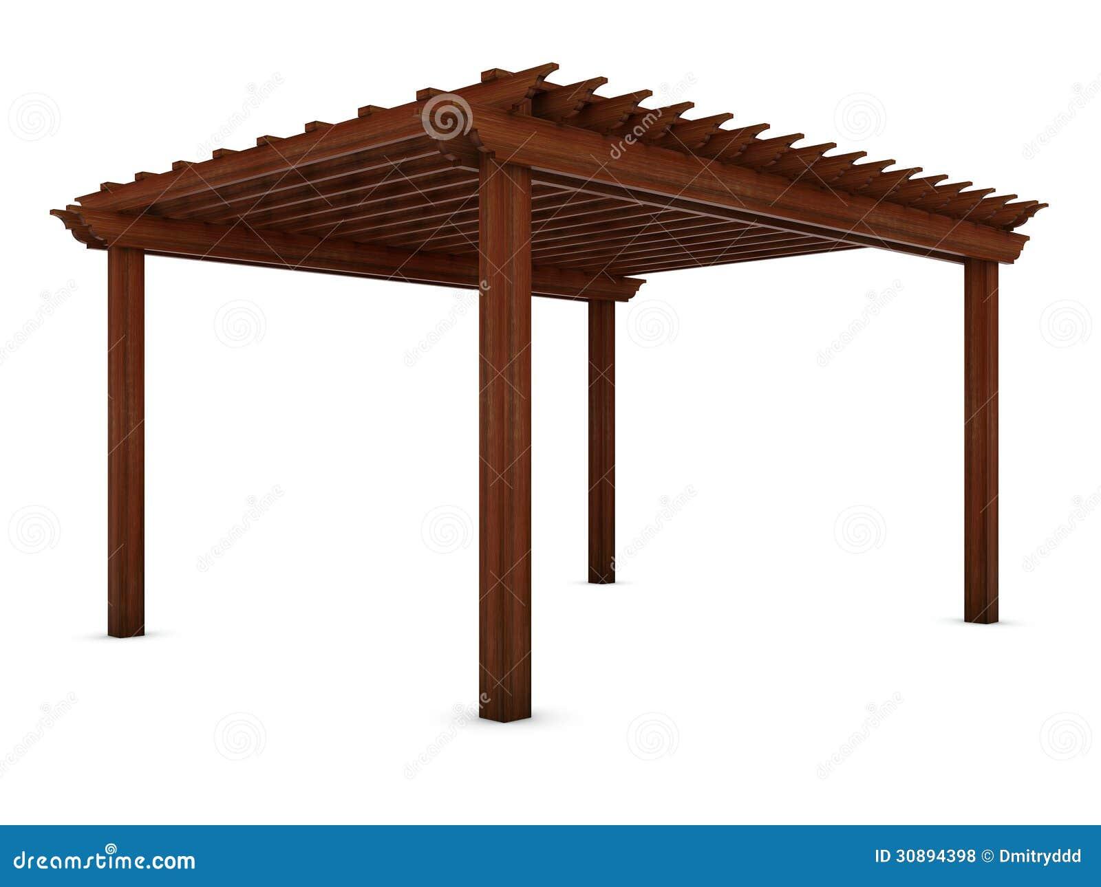 pergola en bois sur le blanc illustration stock illustration du outdoors patio 30894398. Black Bedroom Furniture Sets. Home Design Ideas